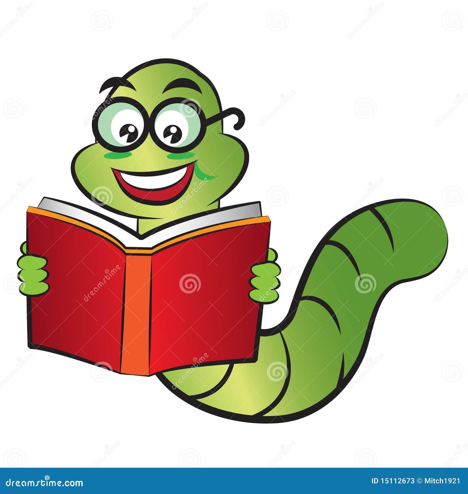 Bücherwurm clipart  Bücherwurm vektor abbildung. Illustration von auge, learn - 15112673
