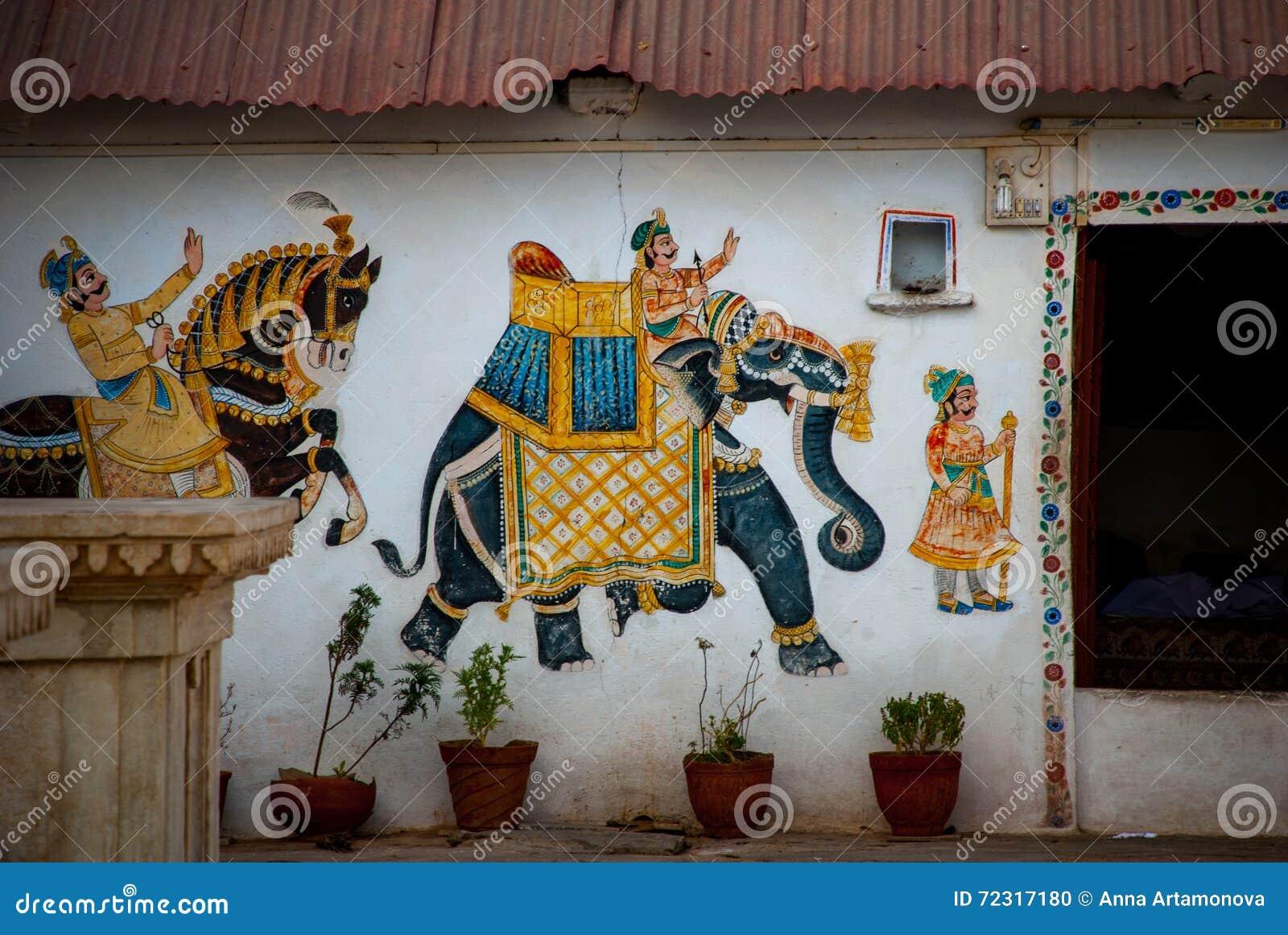 Bügel Udaipur, Indien Fragmente von Wänden Elefant