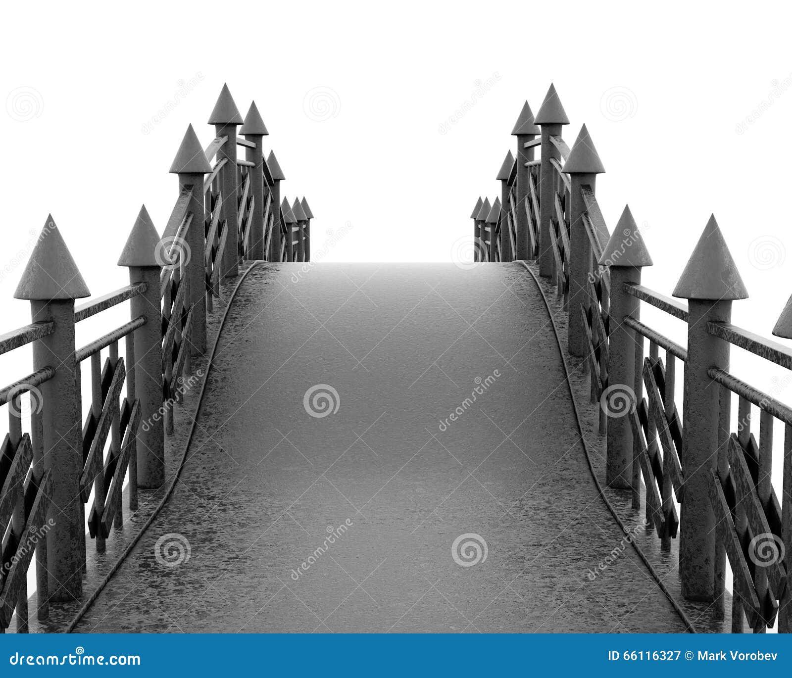 Bügeln Sie volles Gesicht der Fußgängerbrücke auf weißem Hintergrund