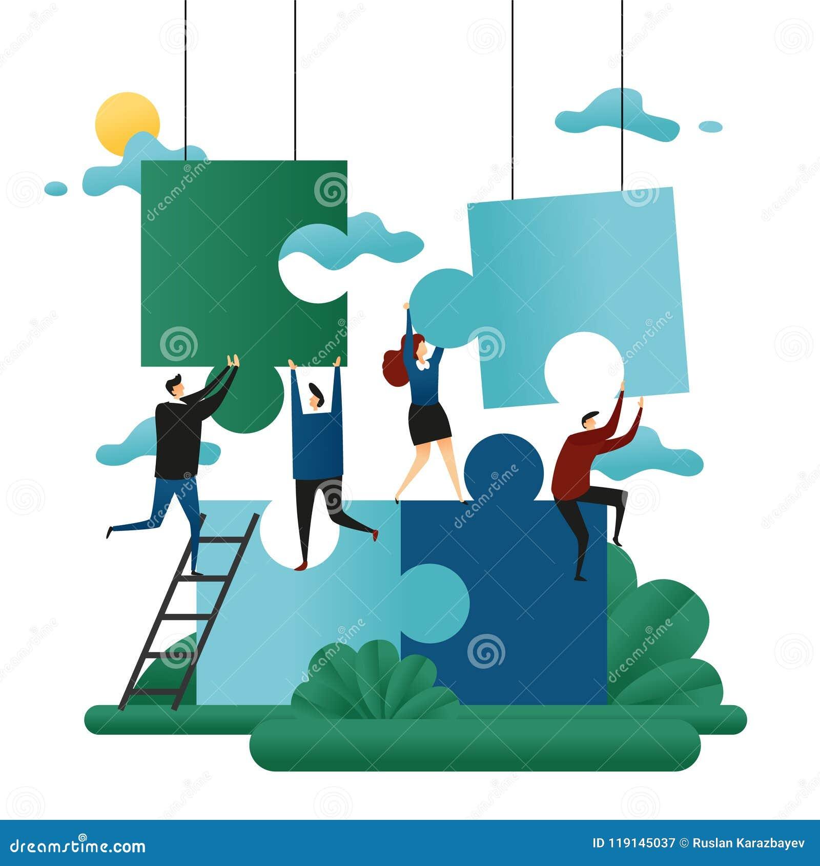 Büro-Genossenschafts-Teamwork Leute-Gestalt-Puzzlespiele Problem-Lösungs-Geschäfts-Konzept-Vektor-Illustration