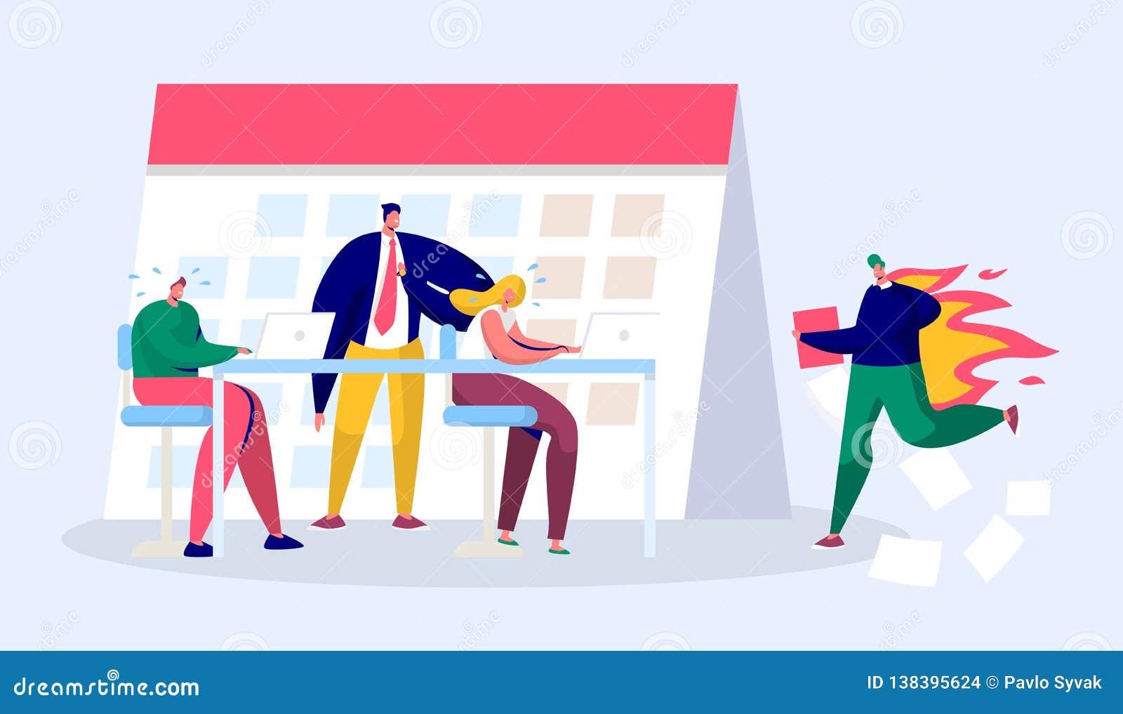 Büro-Geschäftsführer Person Work Overtime an der Frist Druck-Charakter-kompletter Bericht unter hartem Chef Pressure