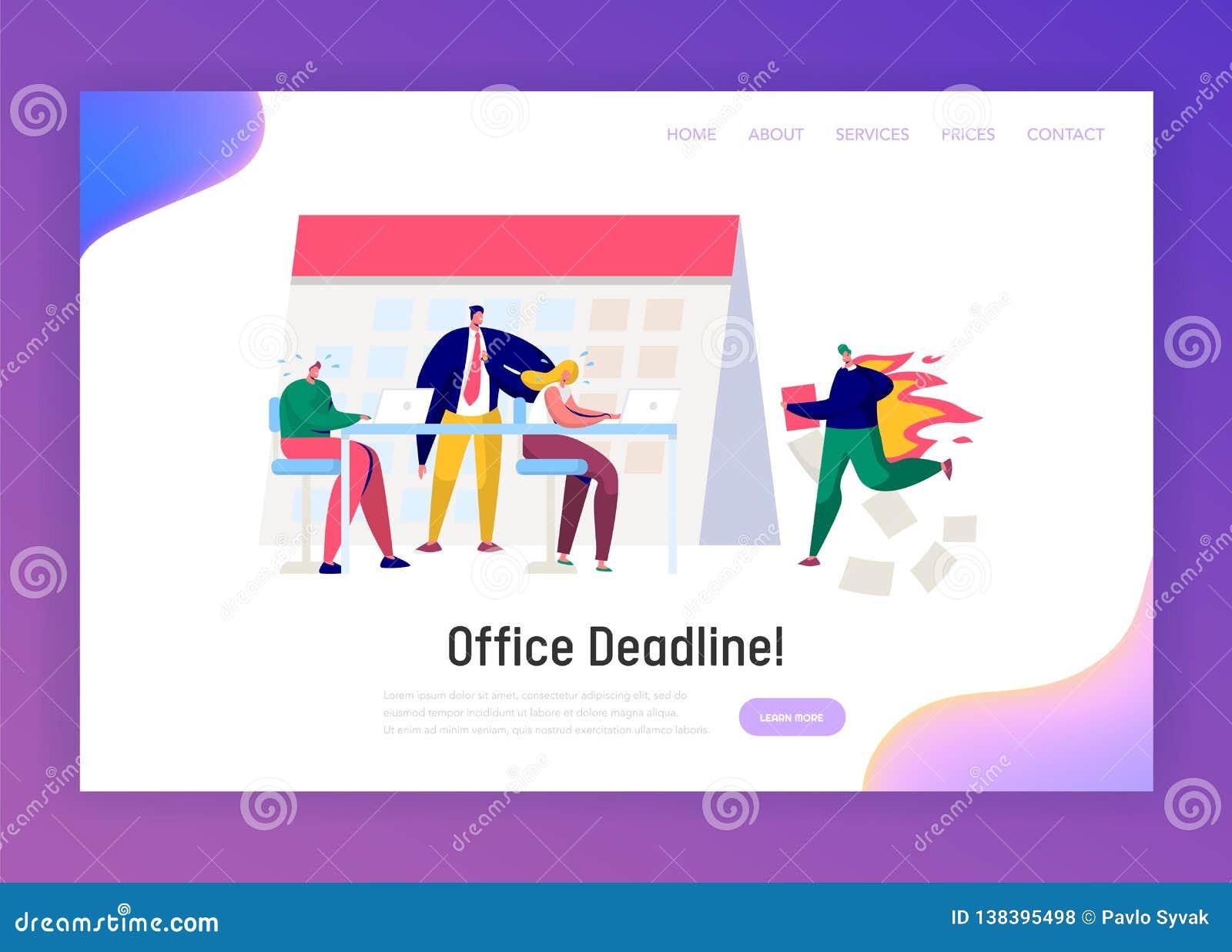 Büro-Geschäftsführer Work Overtime an der Fristen-Landungs-Seite Druck-Charakter-komplette Aufgabe unter hartem Chef Pressure