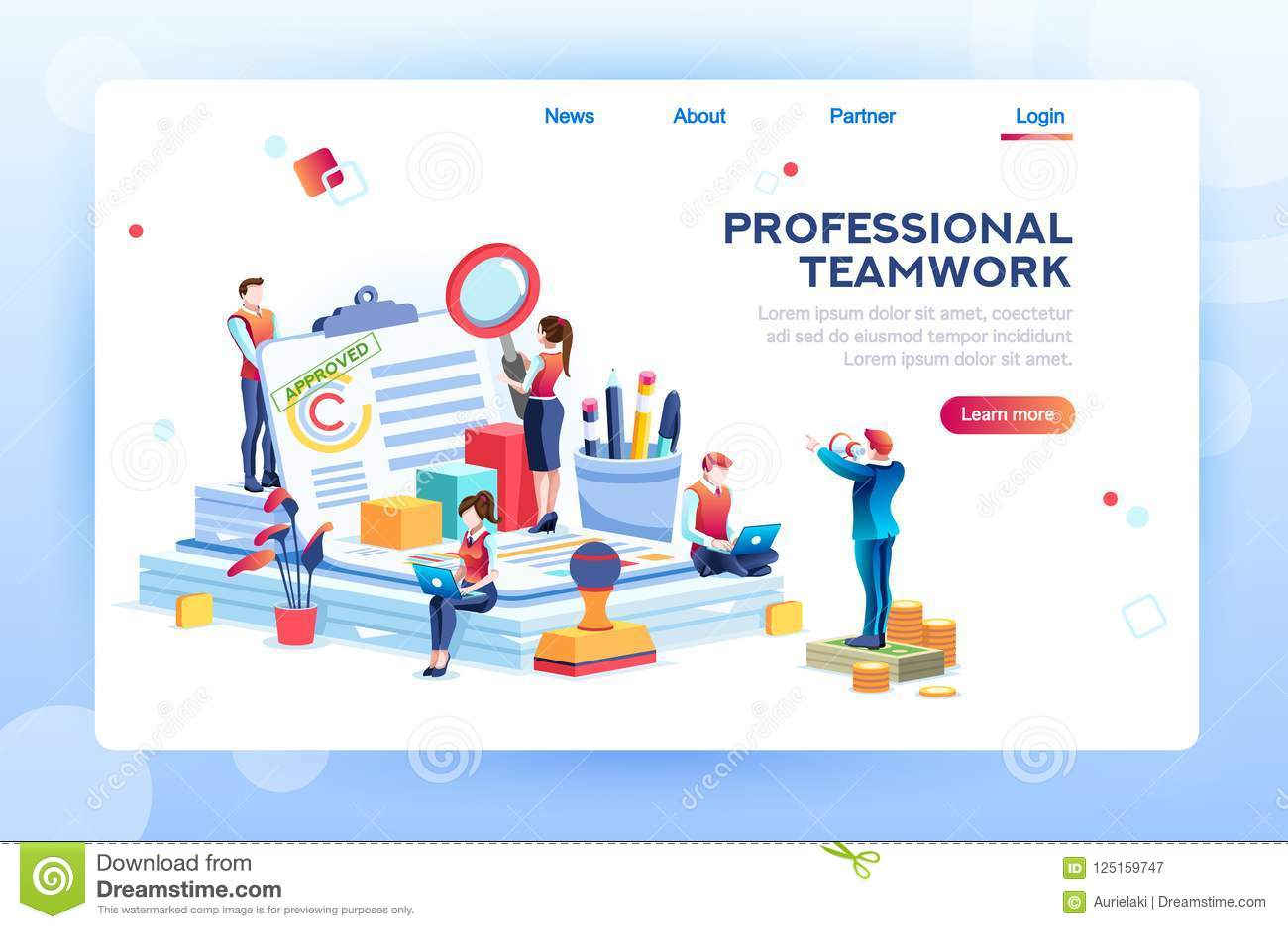 Büro-Netz-Fahne für Website