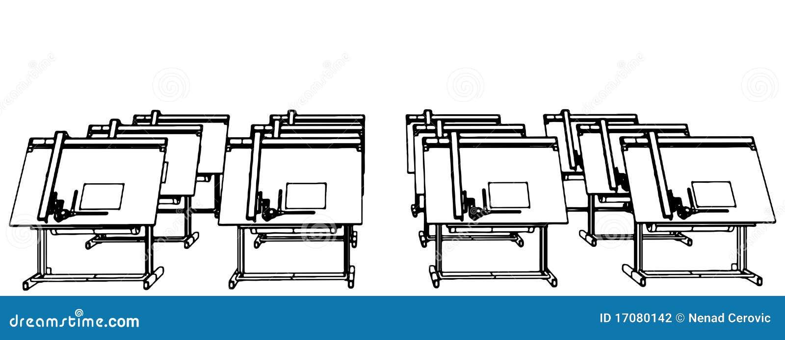 Büro-Schreibtische für Zeichnungs-Vektor 06
