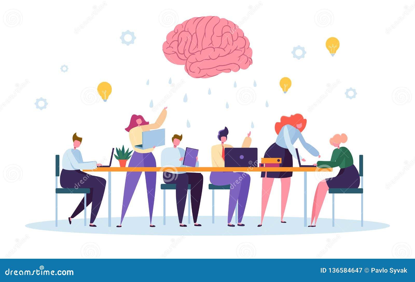 Büro Team Character Brainsorm Work Conference Geschäftsleute Gruppen-Sitzungs-am Schreibtisch-Laptop mit Brain Symbol