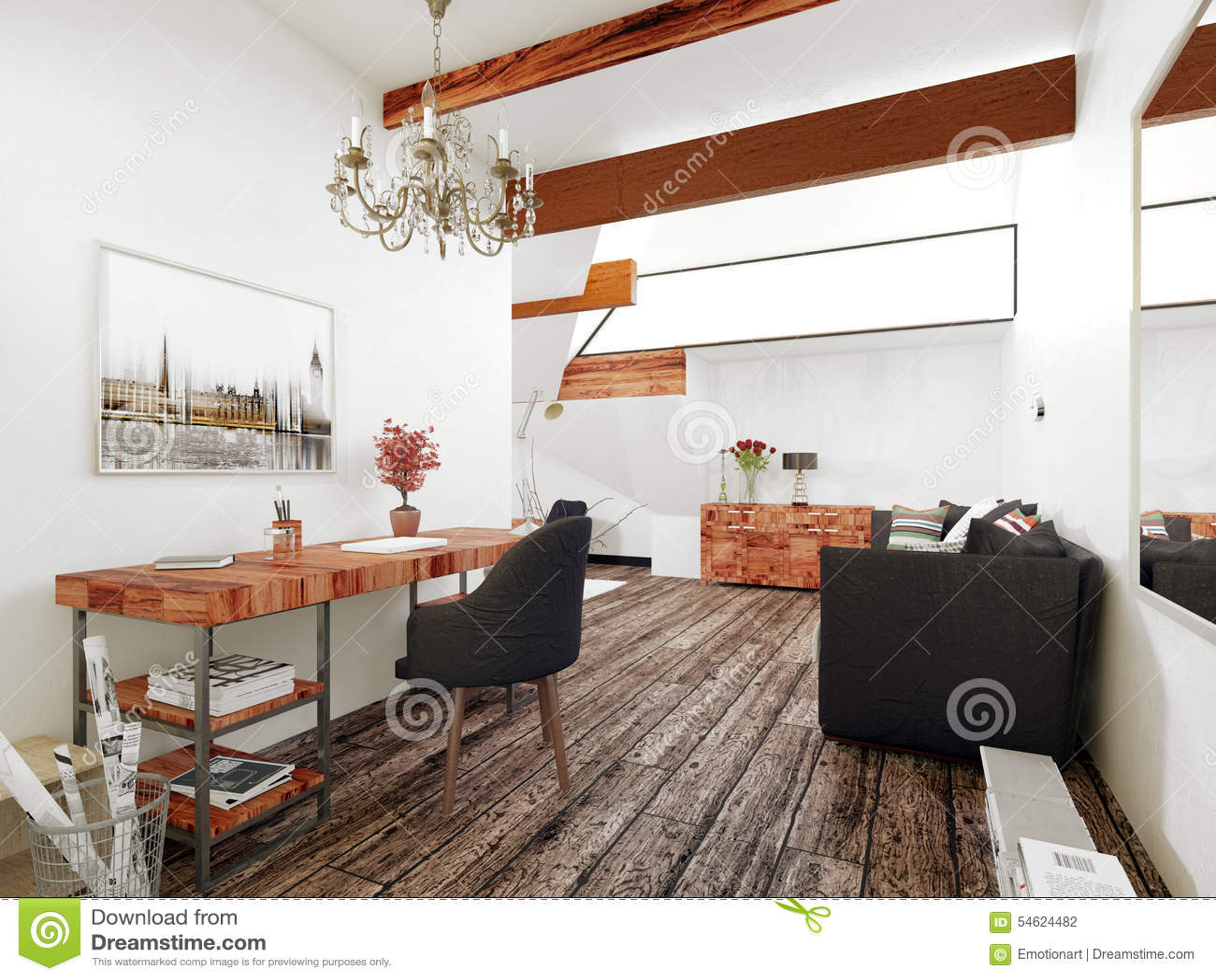 Büro Und Wohnzimmer Im Zeitgenössischen Haus Stock Abbildung ...