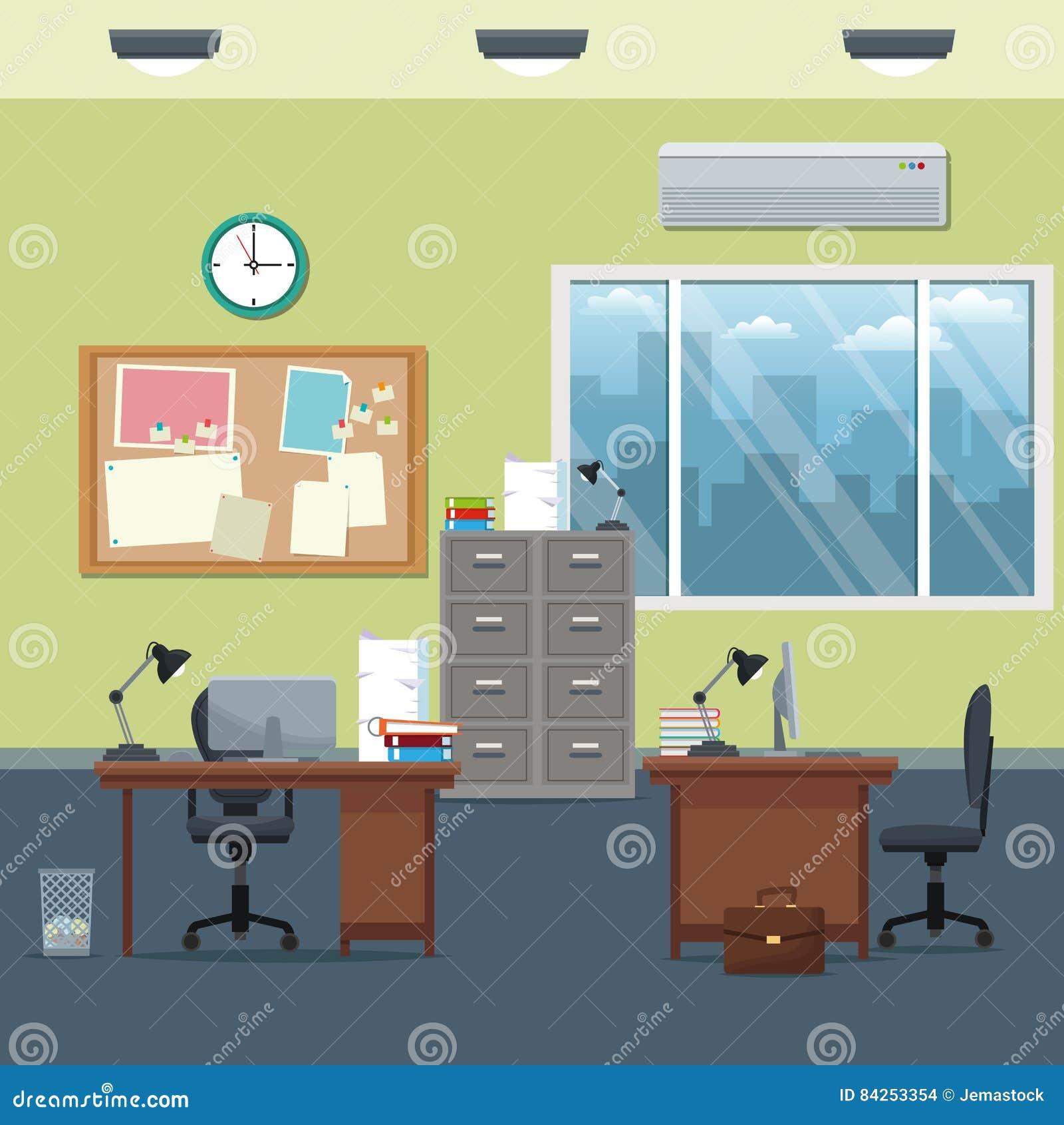 Büroarbeitsplatzschreibtischkabinettbrettmitteilungsuhr-Lampenfenster