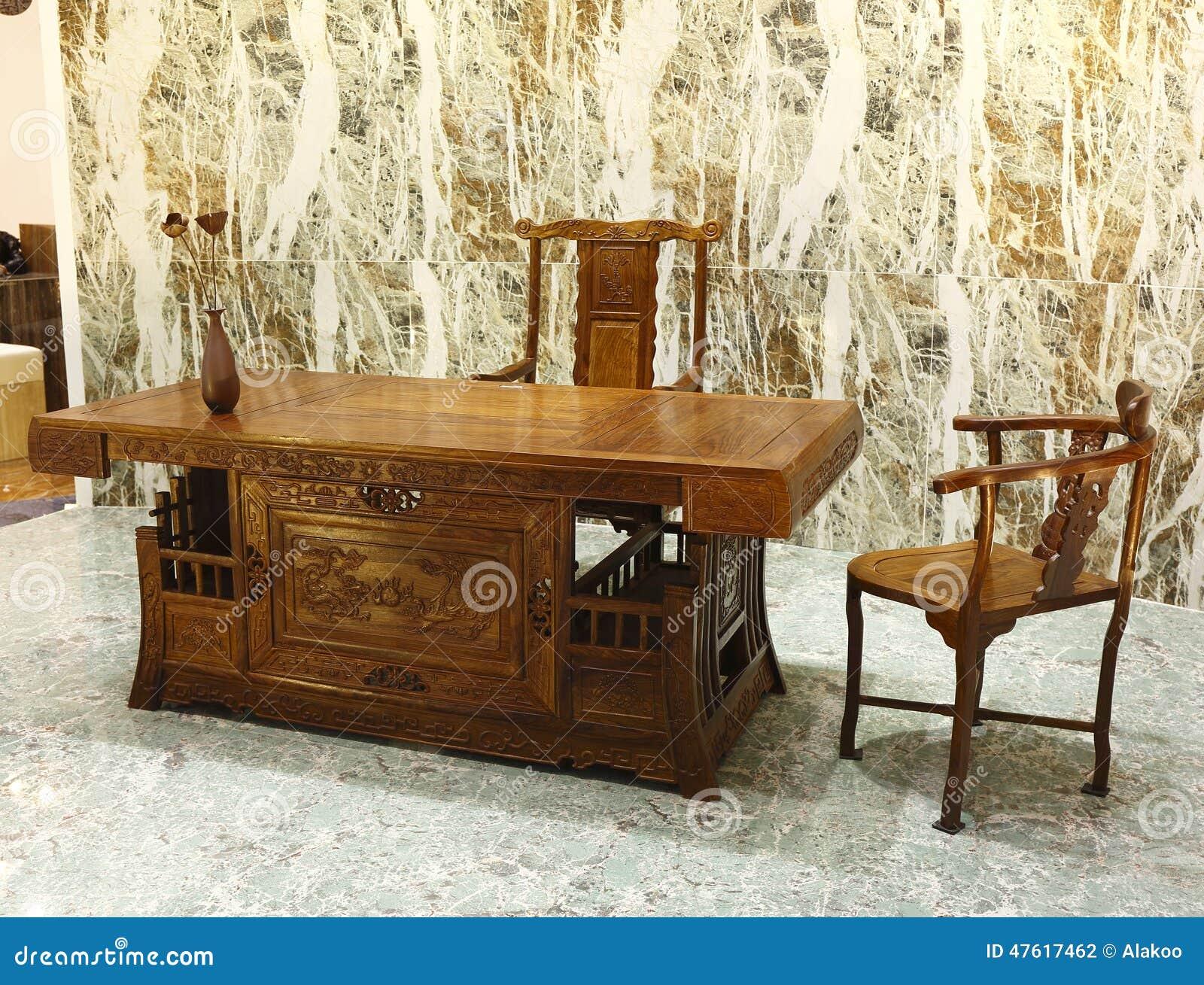 Büromöbel In Der Chinesischen Klassischen Art Stockfoto - Bild ...