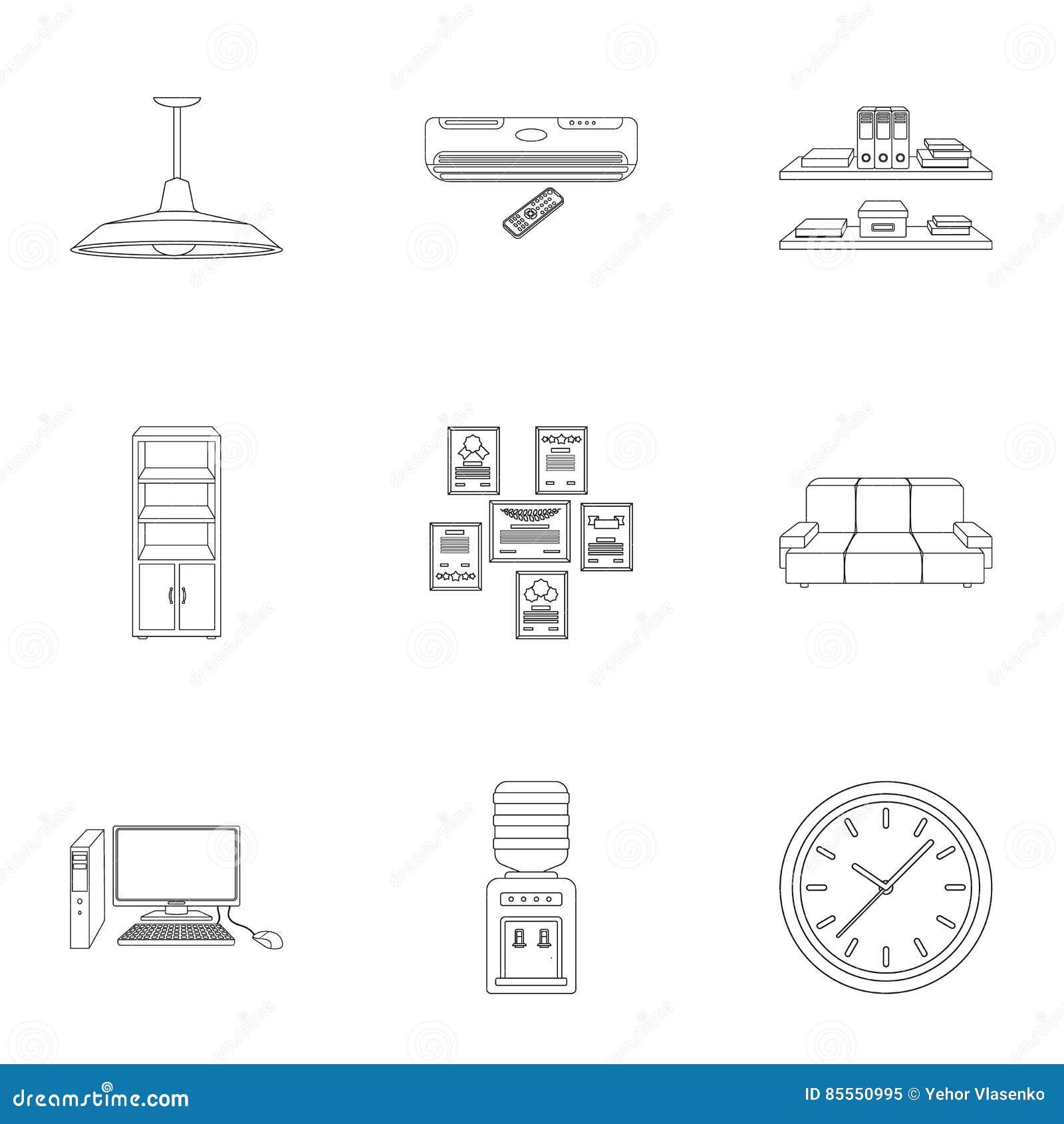 Büromöbel und gesetzte Ikonen des Innenraums in der Entwurfsart Große Sammlung von Büromöbeln und von Innenvektorsymbol