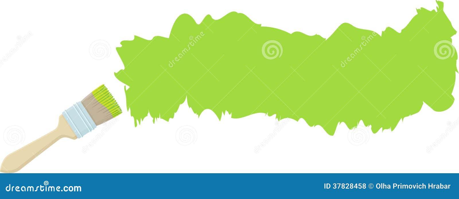 Bürste und Anschlag mit grüner Farbe