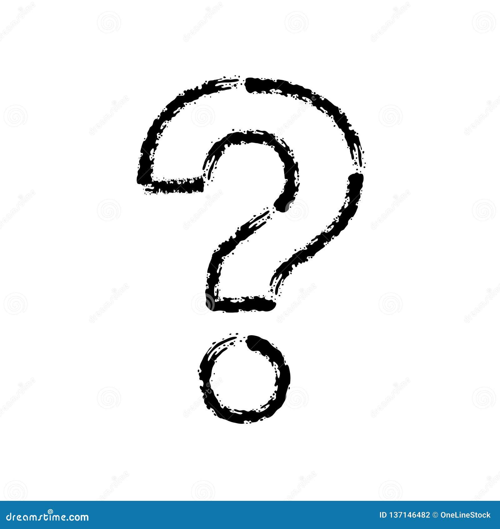 Bürstenanschlaghandgezogene Vektorikone des Fragezeichens