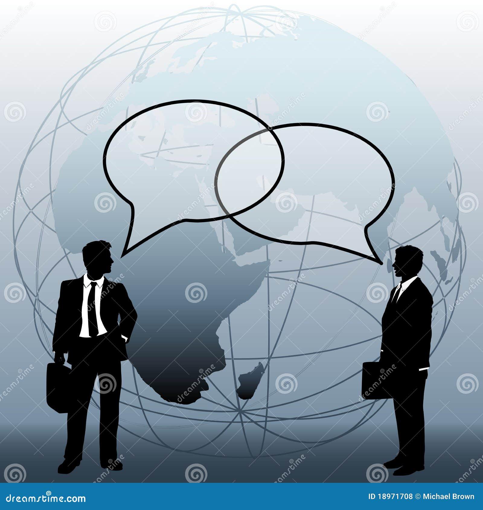 Bąbla biznes łączy rozmów drużyn globalnych ludzi
