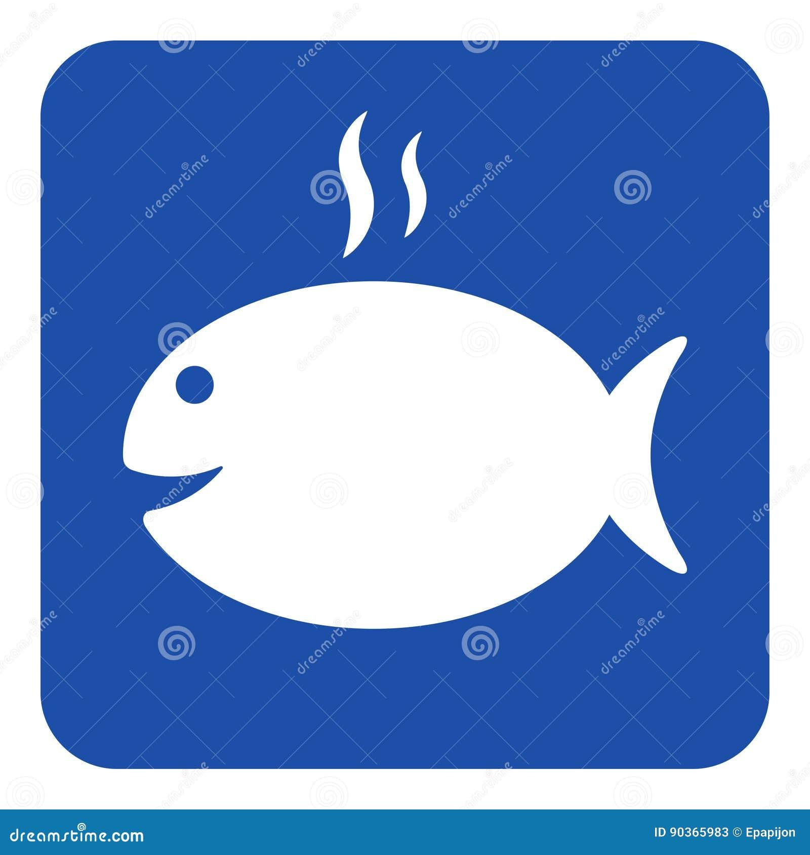 Błękit, bielu znak - opieczenie ryba z dymną ikoną