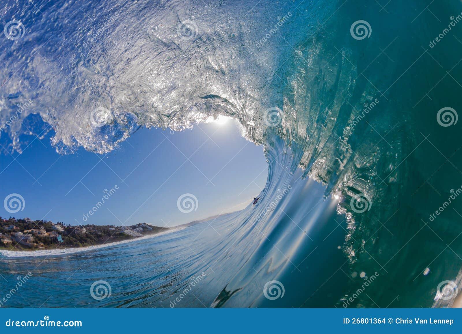 Błękit Fala Pływanie Dudniący Szkła Kędzioru Pływanie