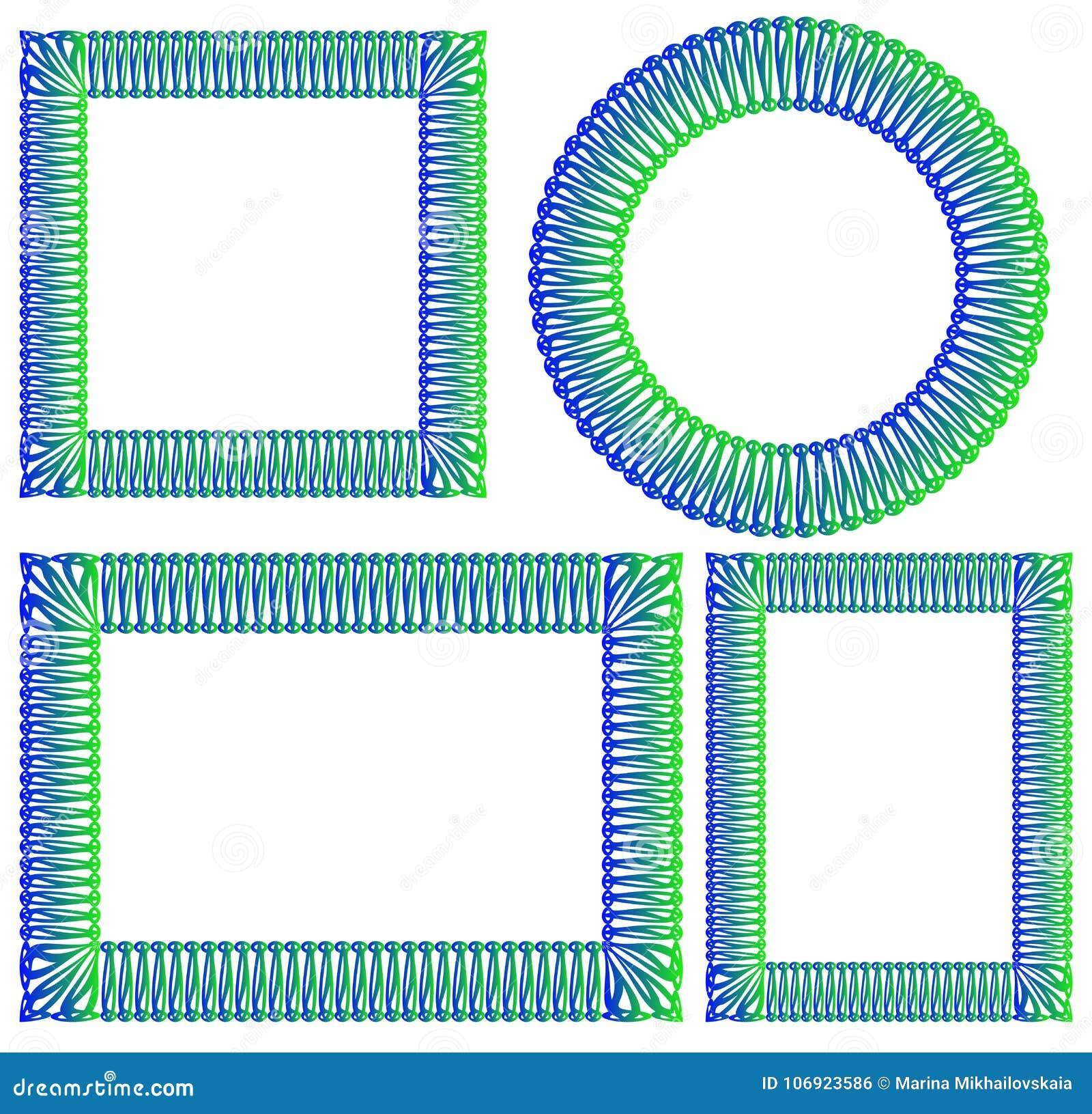 Błękit i zieleń obciosujemy, round, prostokątna rama