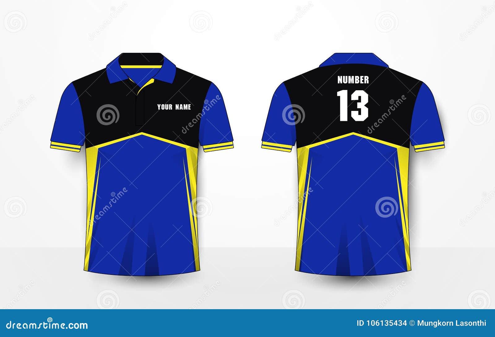 Błękit, kolor żółty i czerń, bawimy się futbolowych zestawy, bydło, koszulka projekta szablon