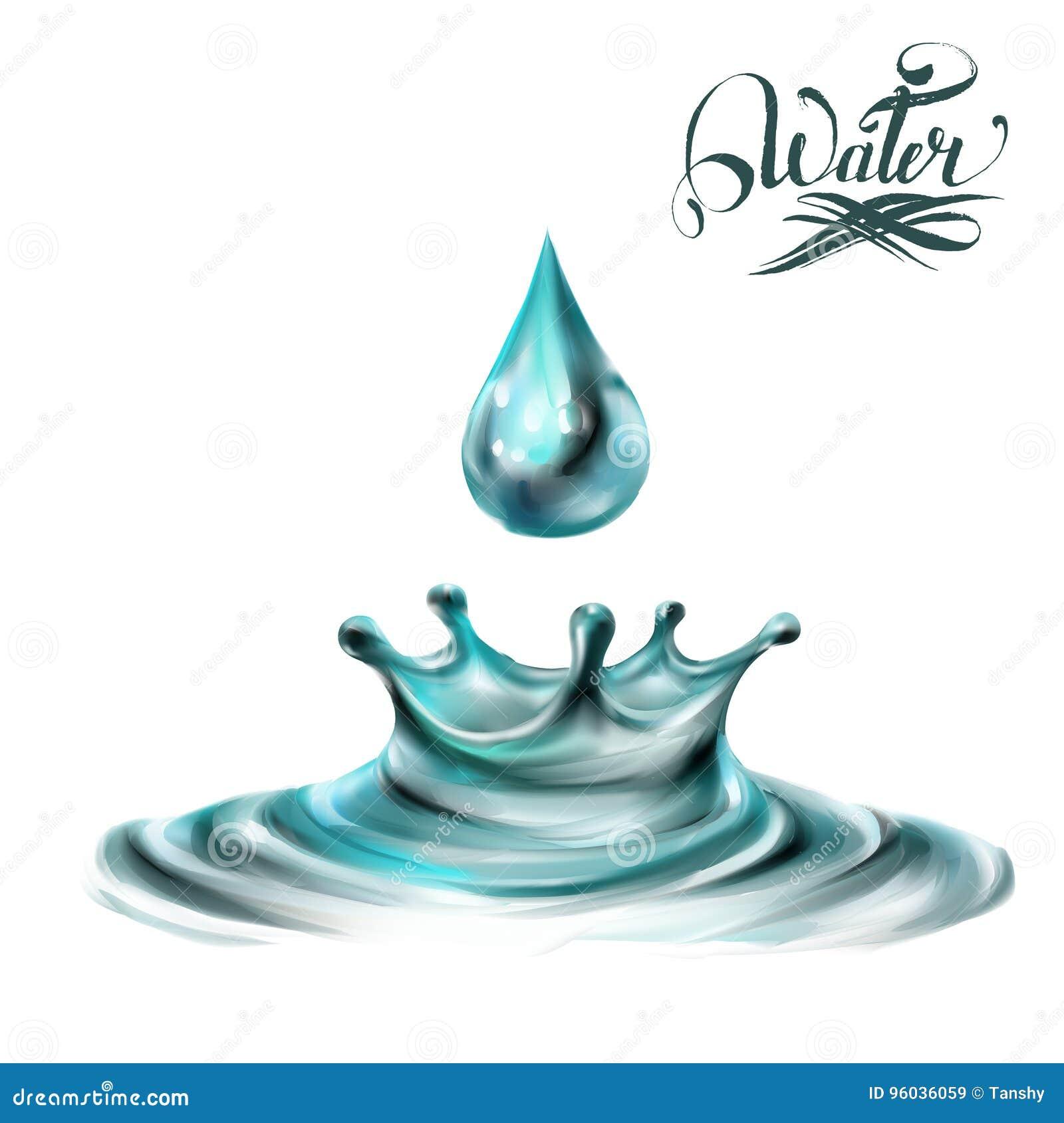 Błękit, wodne chełbotanie krople; odosobniony wektor