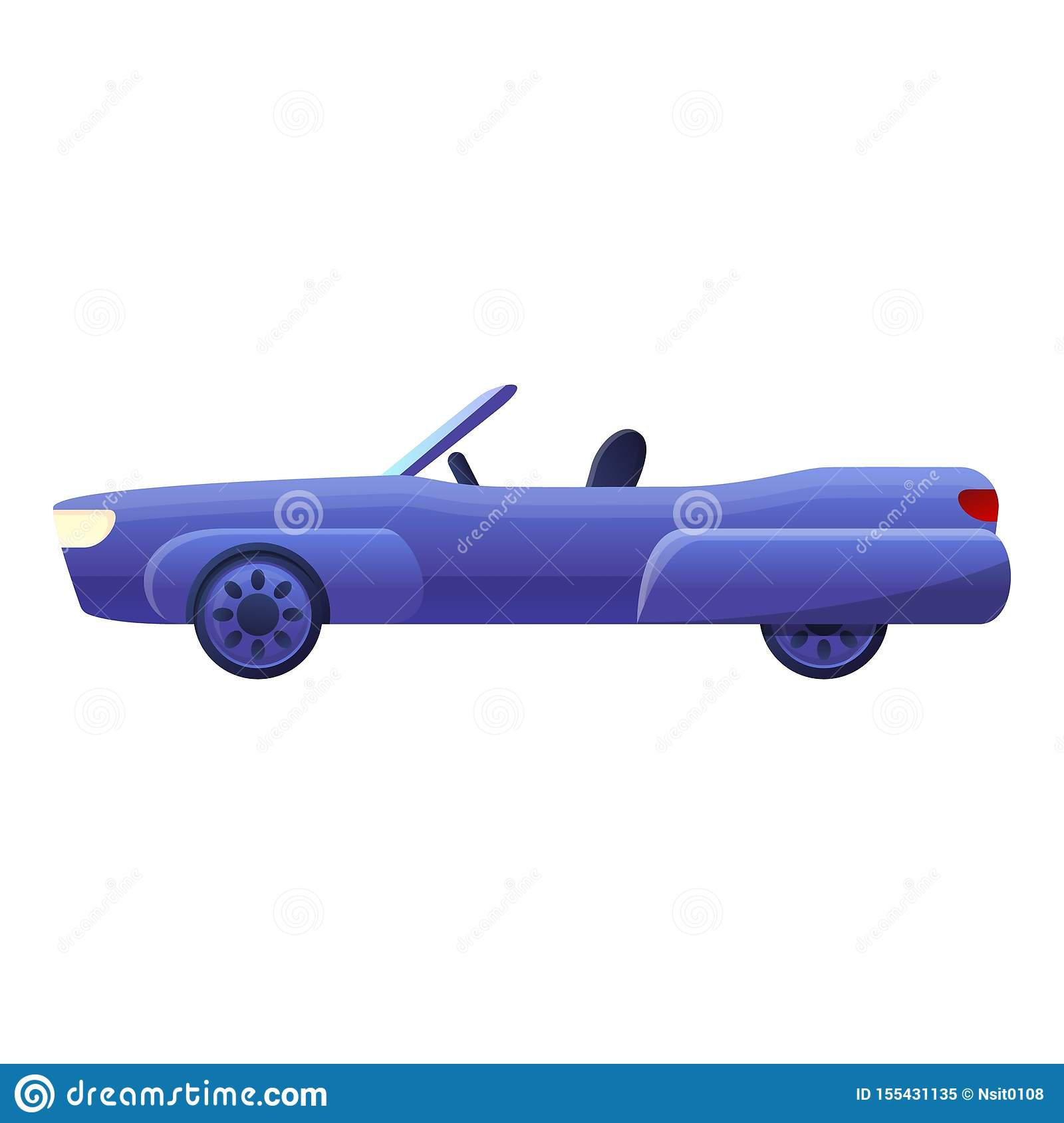 Błękitna kabriolet ikona, kreskówka styl
