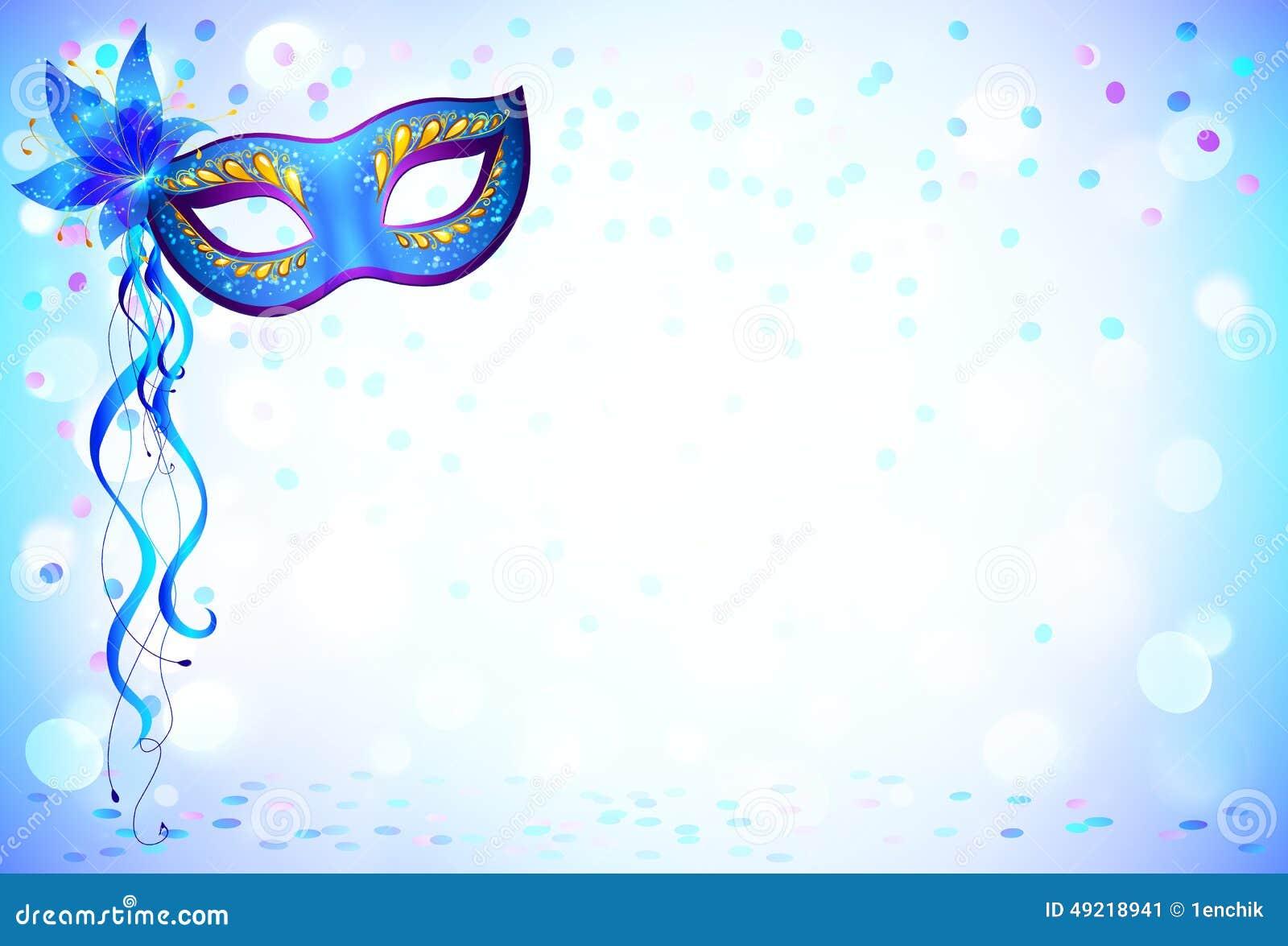 Błękitna Karnawał Maska I Confetti Lekki Tło Ilustracja Wektor Ilustracja Złożonej Z Maska Lekki 49218941