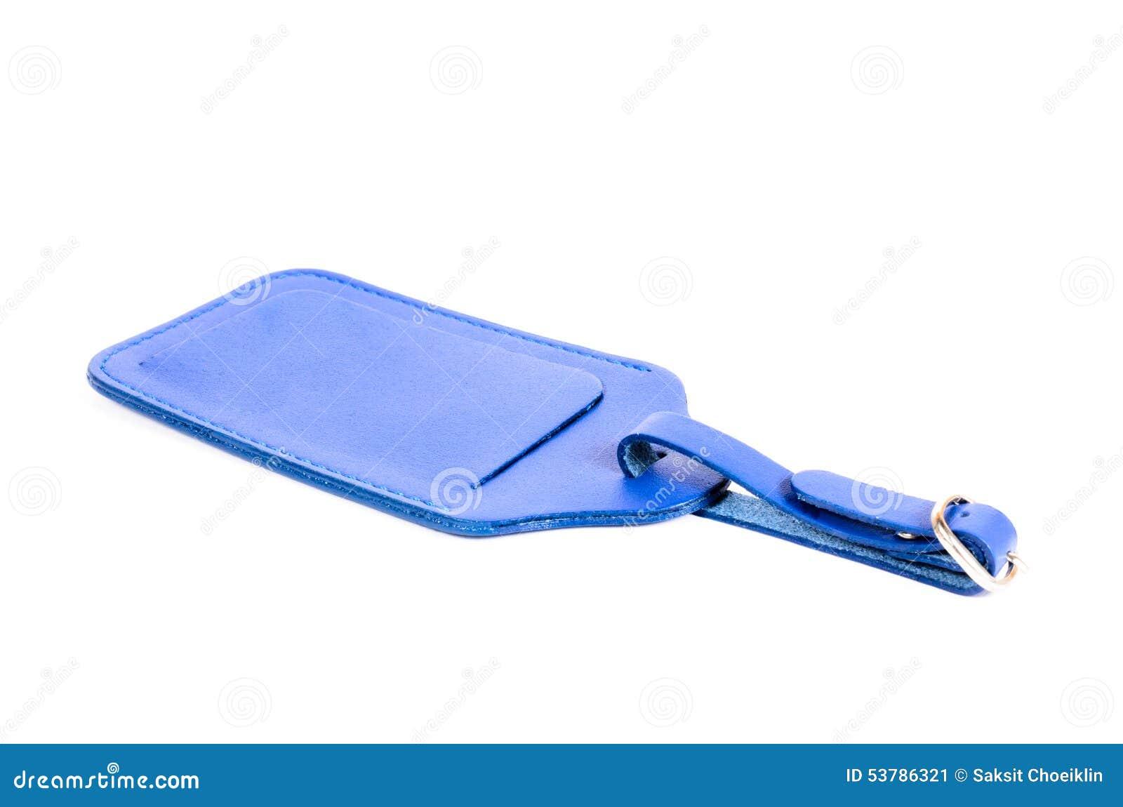 Błękitna rzemienna bagaż etykietka