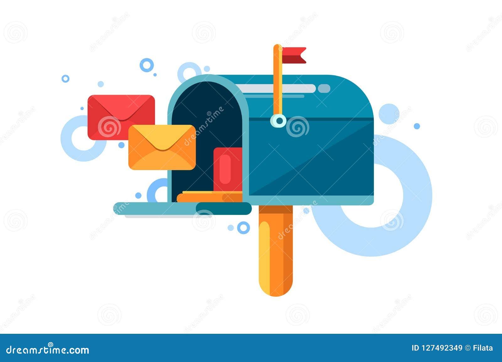 Błękitna skrzynka pocztowa z czerwoną flaga inside i listami