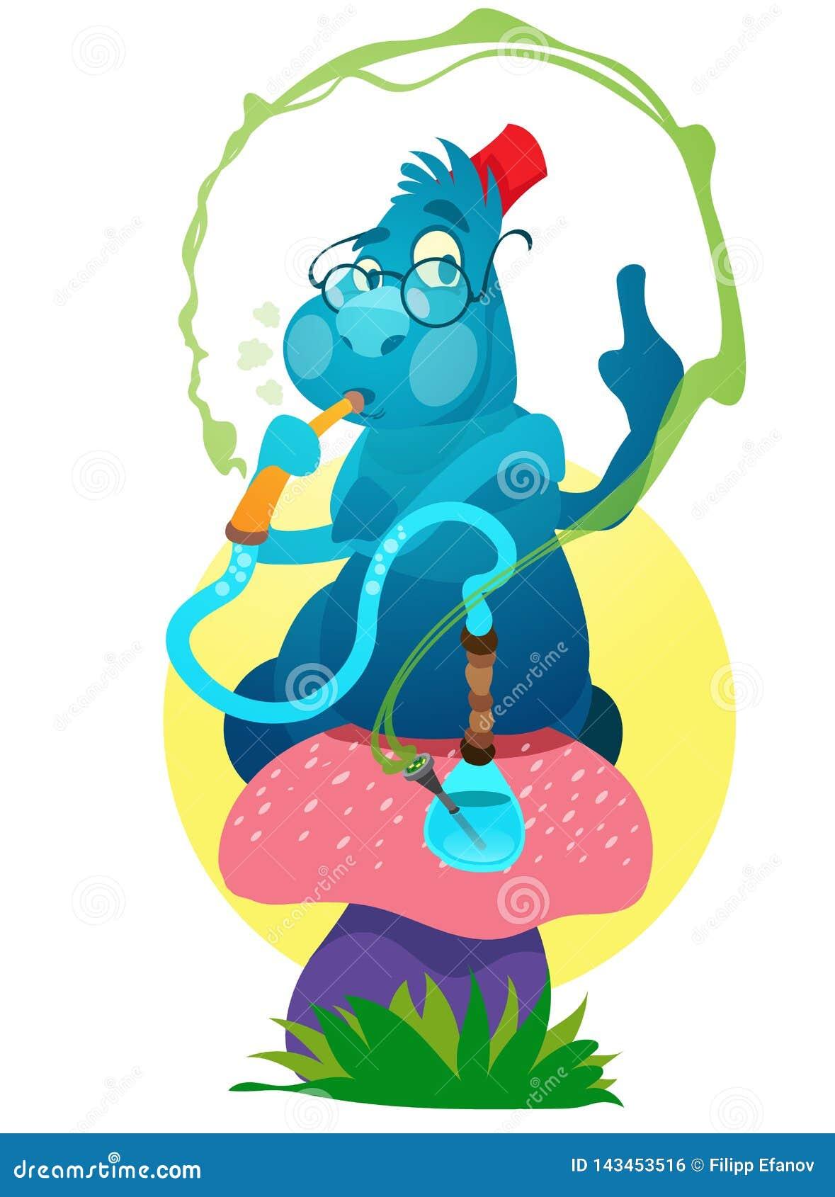 Błękitne gąsienicy na magii pieczarce Ilustracja bajki Alice przygody w kraina cudów