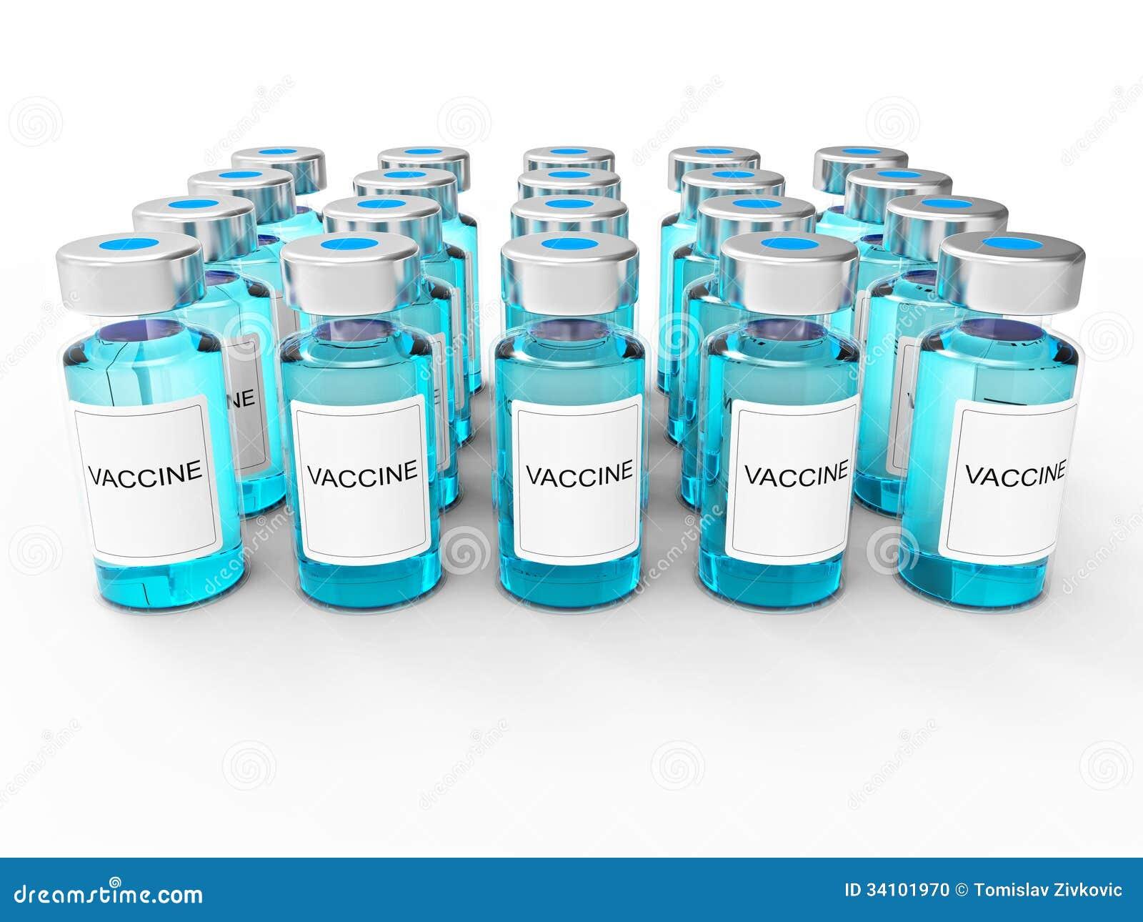 Błękitne szczepionek butelki na bielu