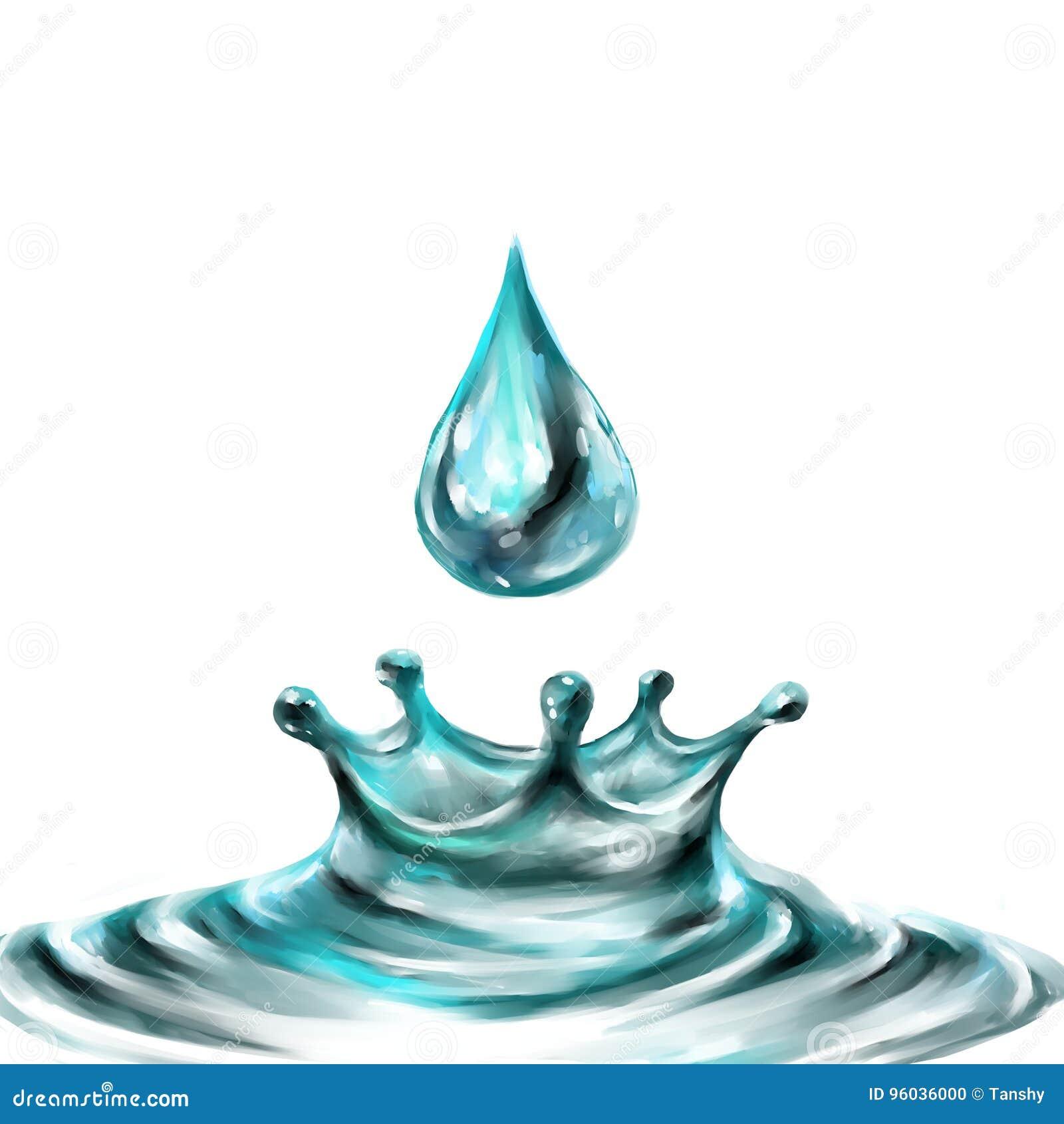 Błękitne wody chełbotania krople; odosobniony