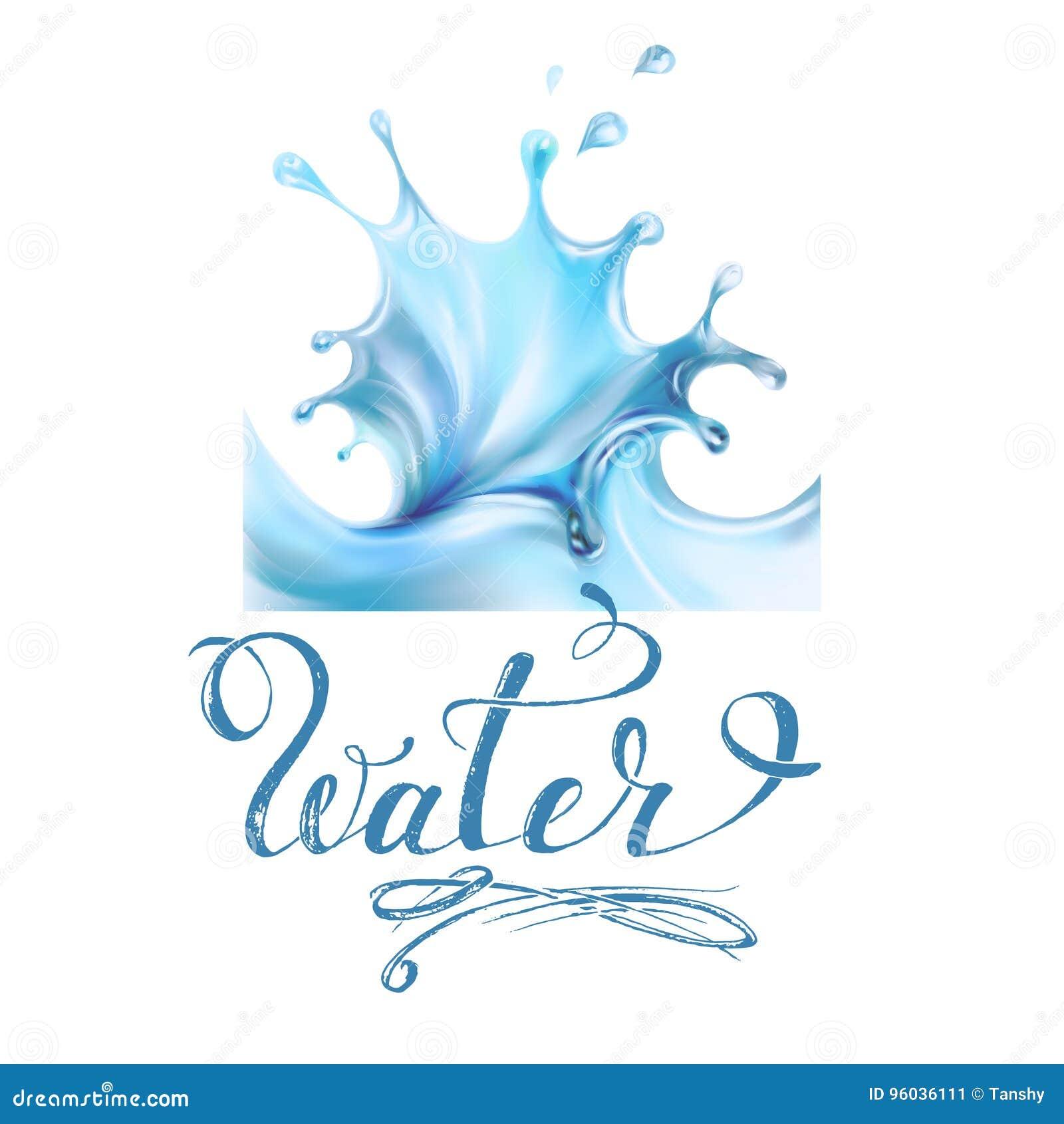 Błękitne wody chełbotania krople; odosobniony wektor