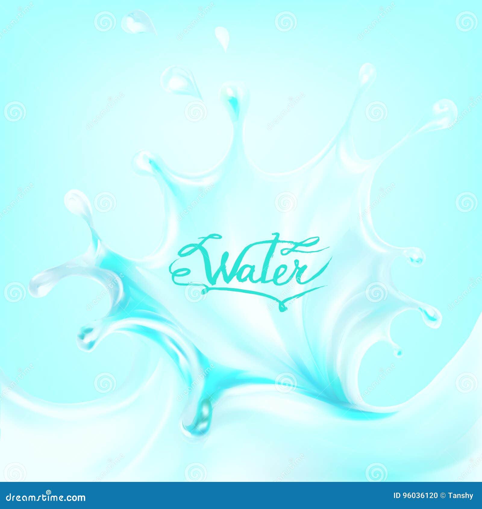 Błękitne wody chełbotania krople; wektor