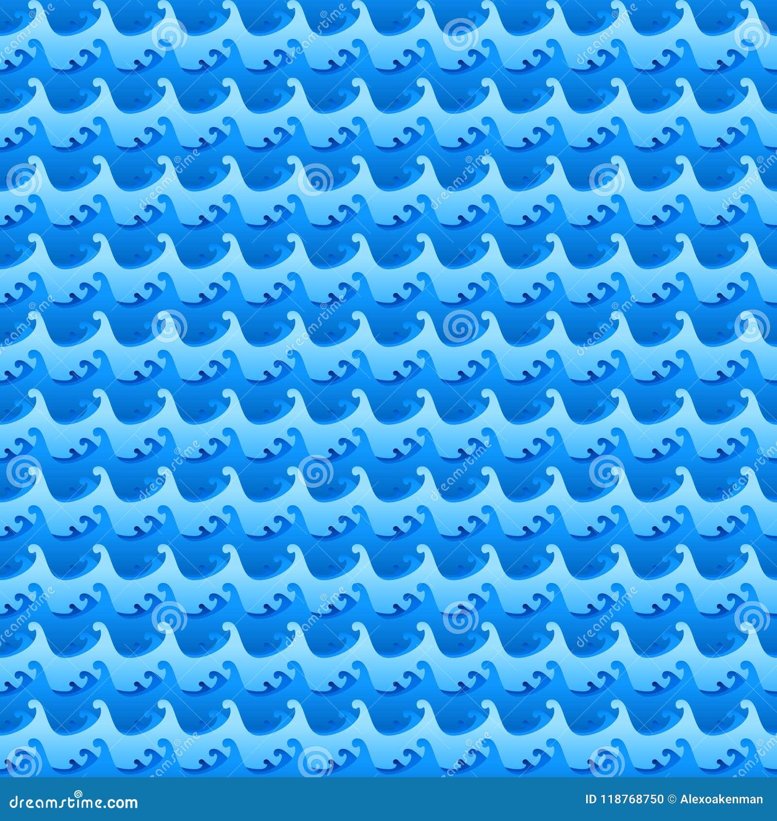 Błękitne wody macha bezszwową wektorową teksturę lub wzór