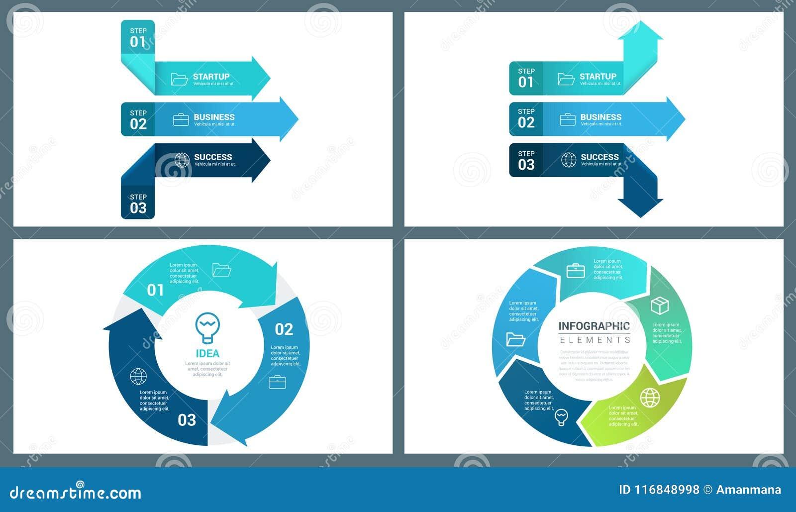 Błękitnego Colour Wektorowa Perspektywiczna strzała i okręgu Infographic szablon
