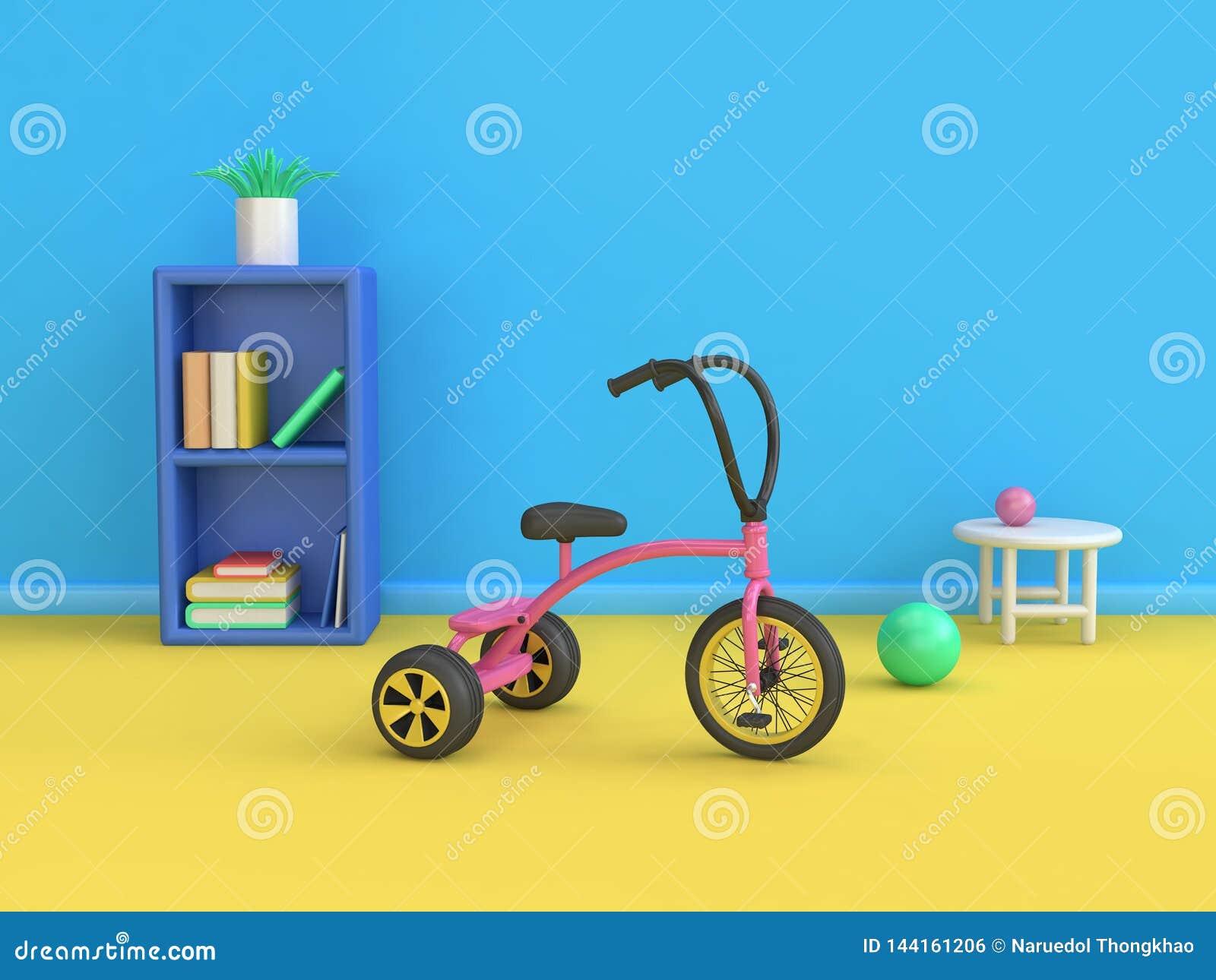 Błękitnego scena dzieciaka żółtego podłogowego trójkołowa półki na książki 3d meblarski rendering abstrakcjonistyczny minimalny 3