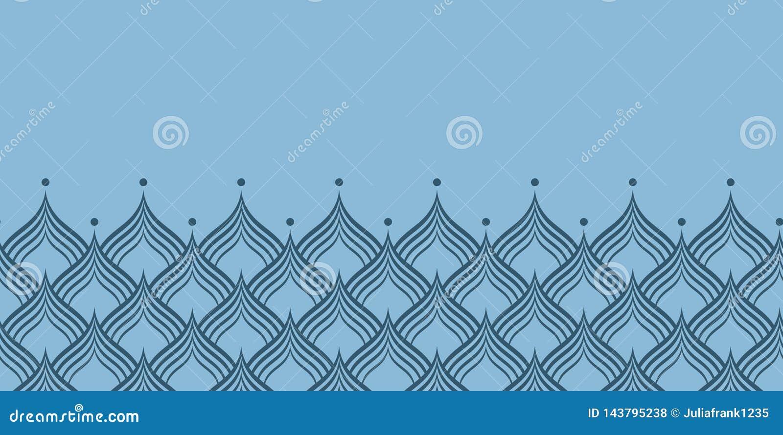 Błękitnej smok skali wektorowej powtórki horyzontalna granica