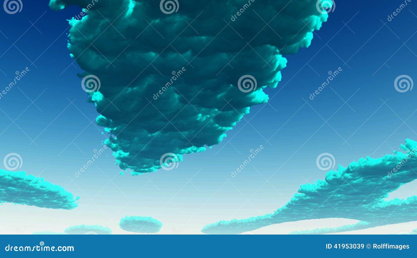 Błękitnej zieleni chmury