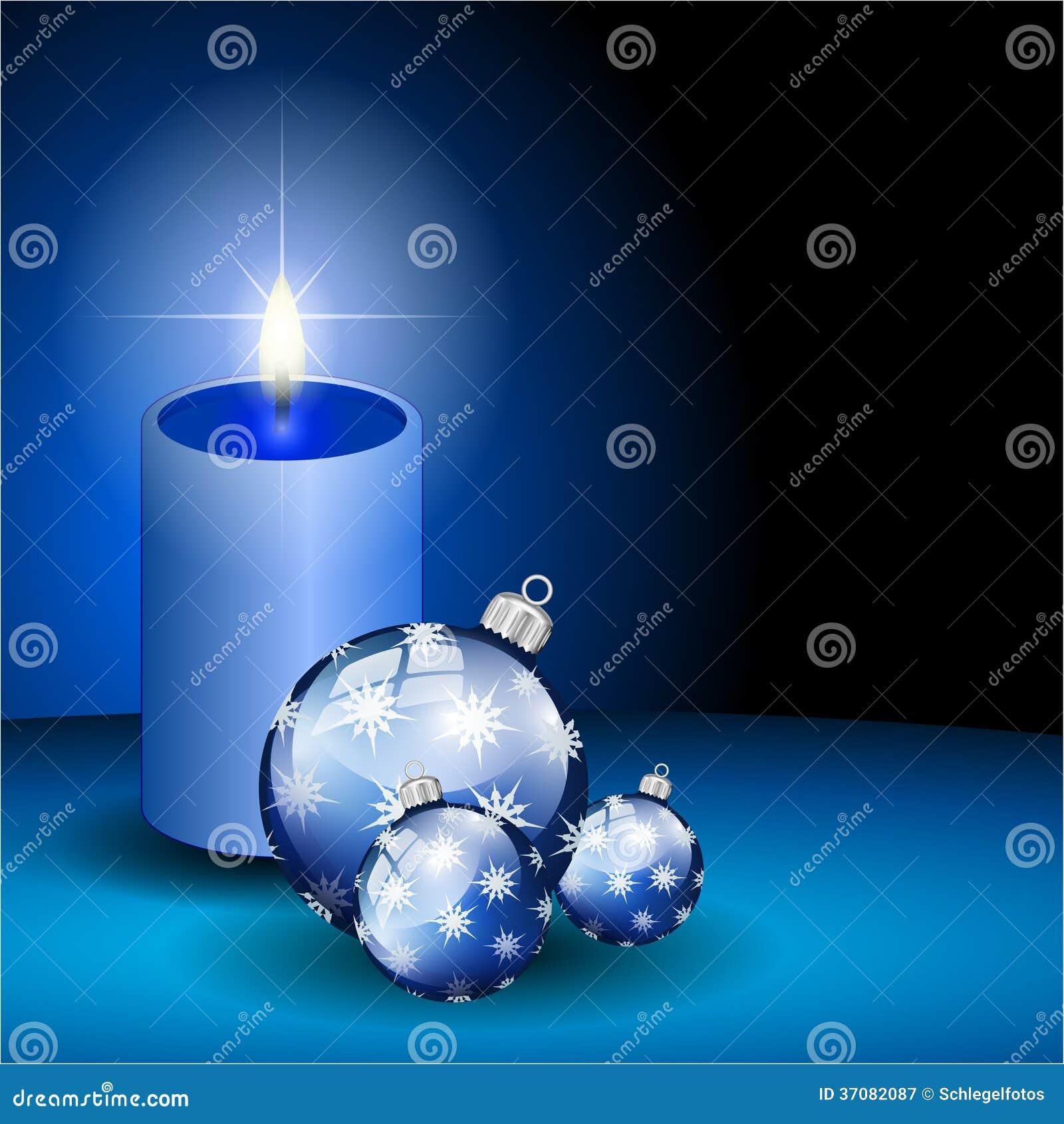 Download Błękitni Boże Narodzenia Piłka I świeczka Ilustracji - Ilustracja złożonej z grudzień, piękny: 37082087