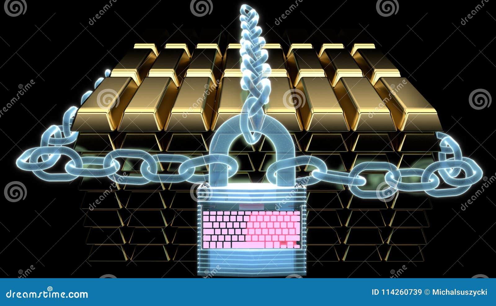 Błękitni holograficzni łańcuchy i holograph cyfrowa kędziorka chronienia sterta złociści bary