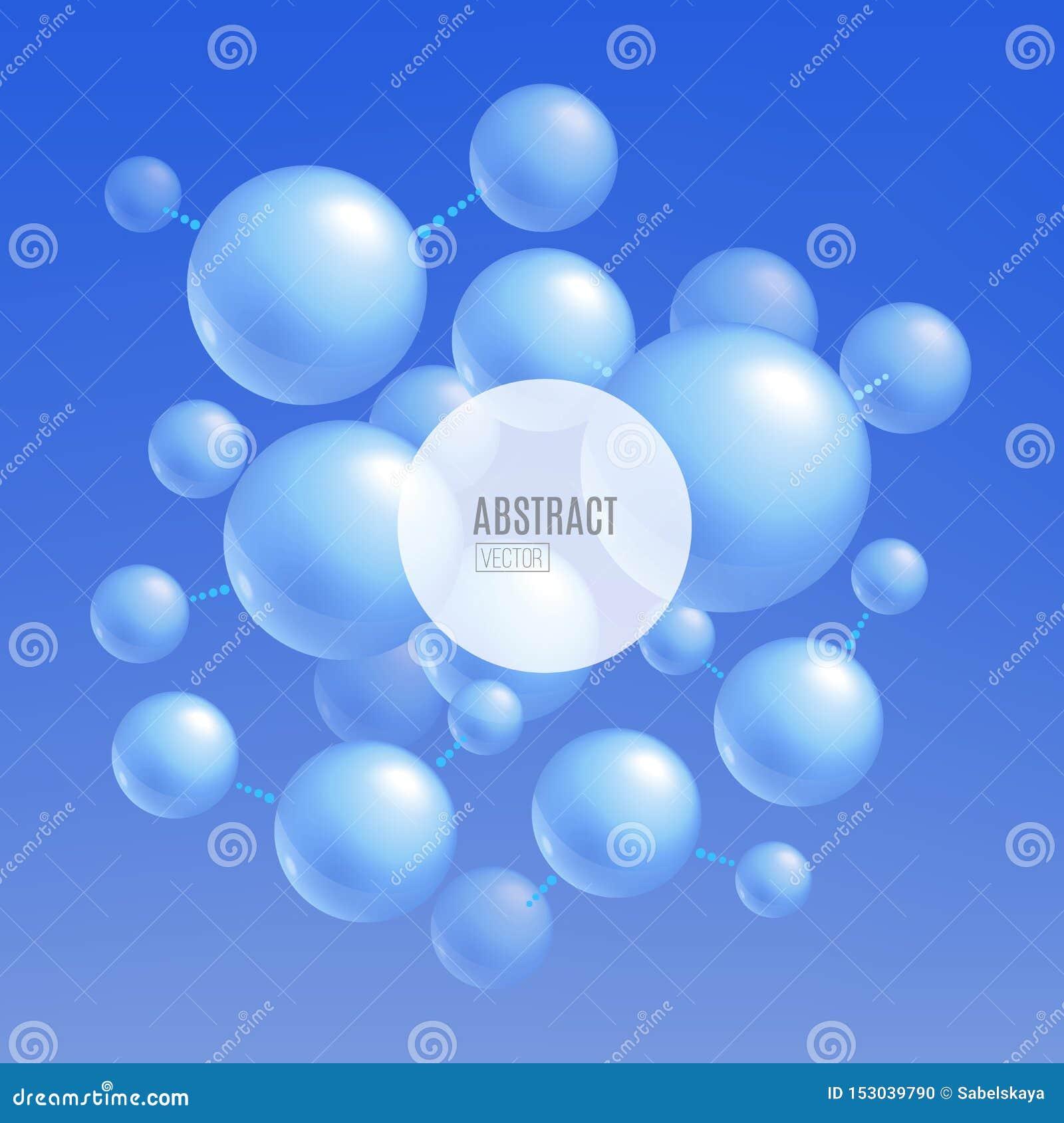 Błękitni molekuła atomy - abstrakcjonistyczny tło dla nauka i technika sztandaru projekta