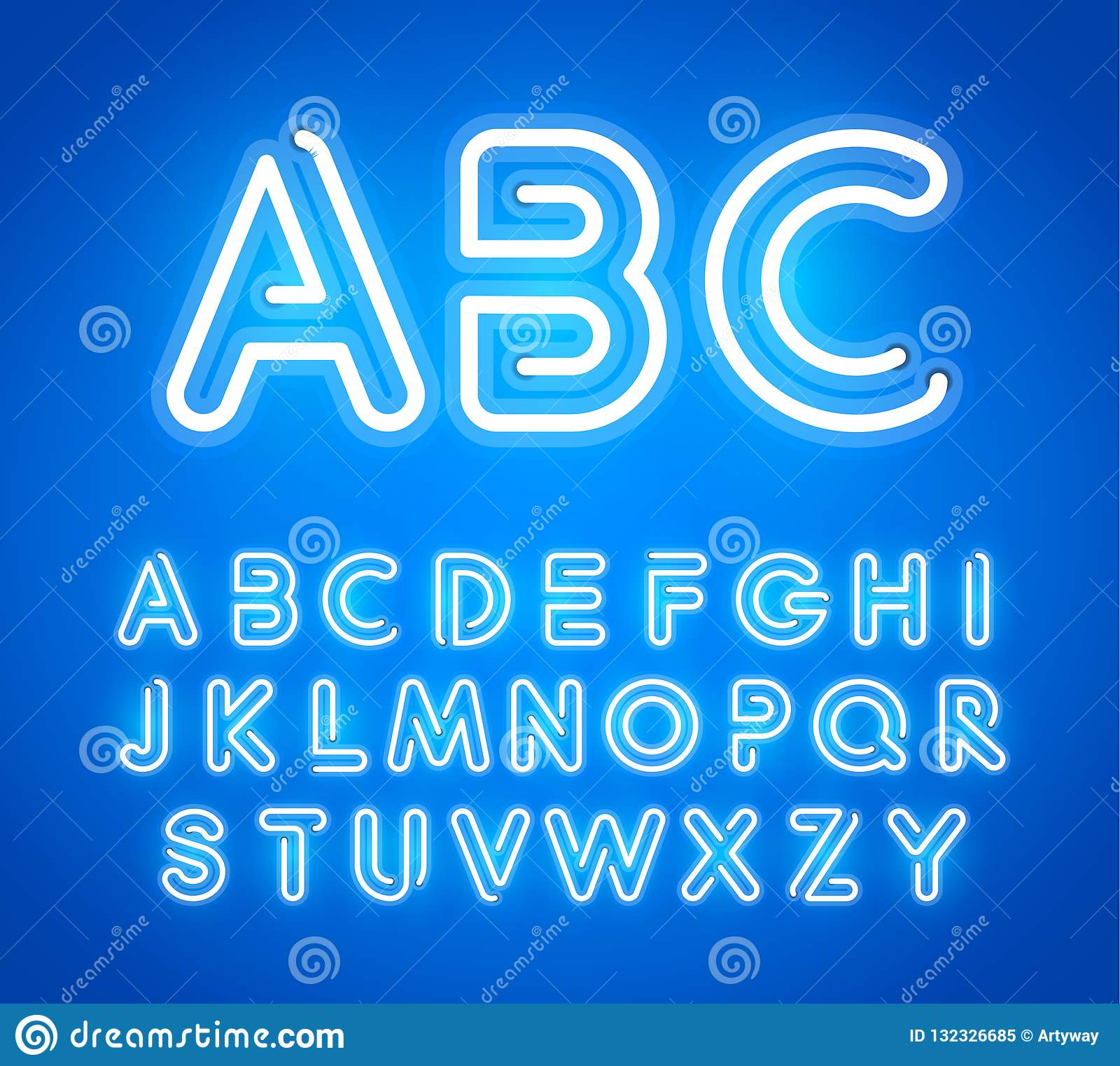 Błękitni Neonowi listy Ustawiający Jaskrawa rozjarzona chrzcielnica Łaciński abecadło od Świecących Neonowych tubk ABC dla baru,