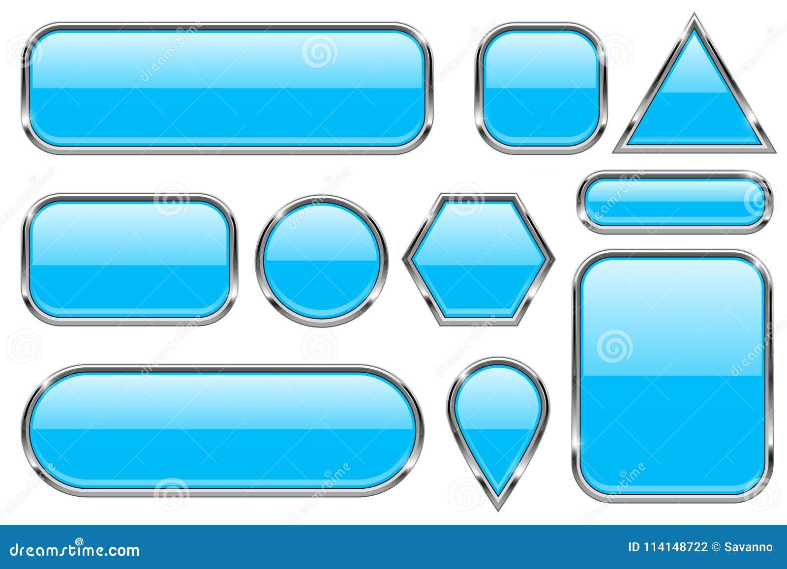 Błękitni szkło guziki z chrom ramą Barwiony set błyszczące 3d sieci ikony