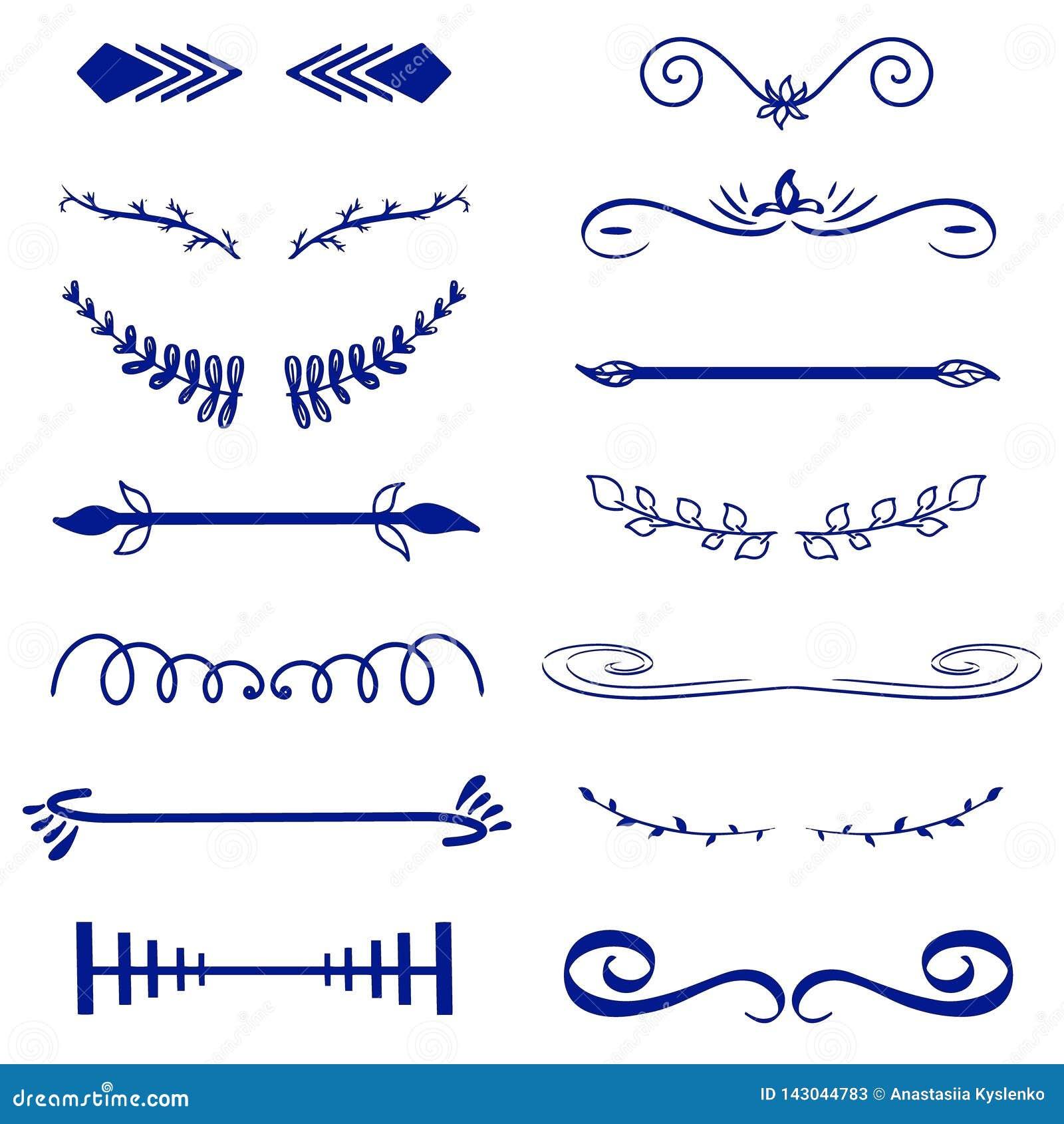 Błękitni Wektorowi dekoracyjni monogramy i kaligraficzne granicy Szablonu signage, logo, etykietka, majcher Klasyczny projekta el