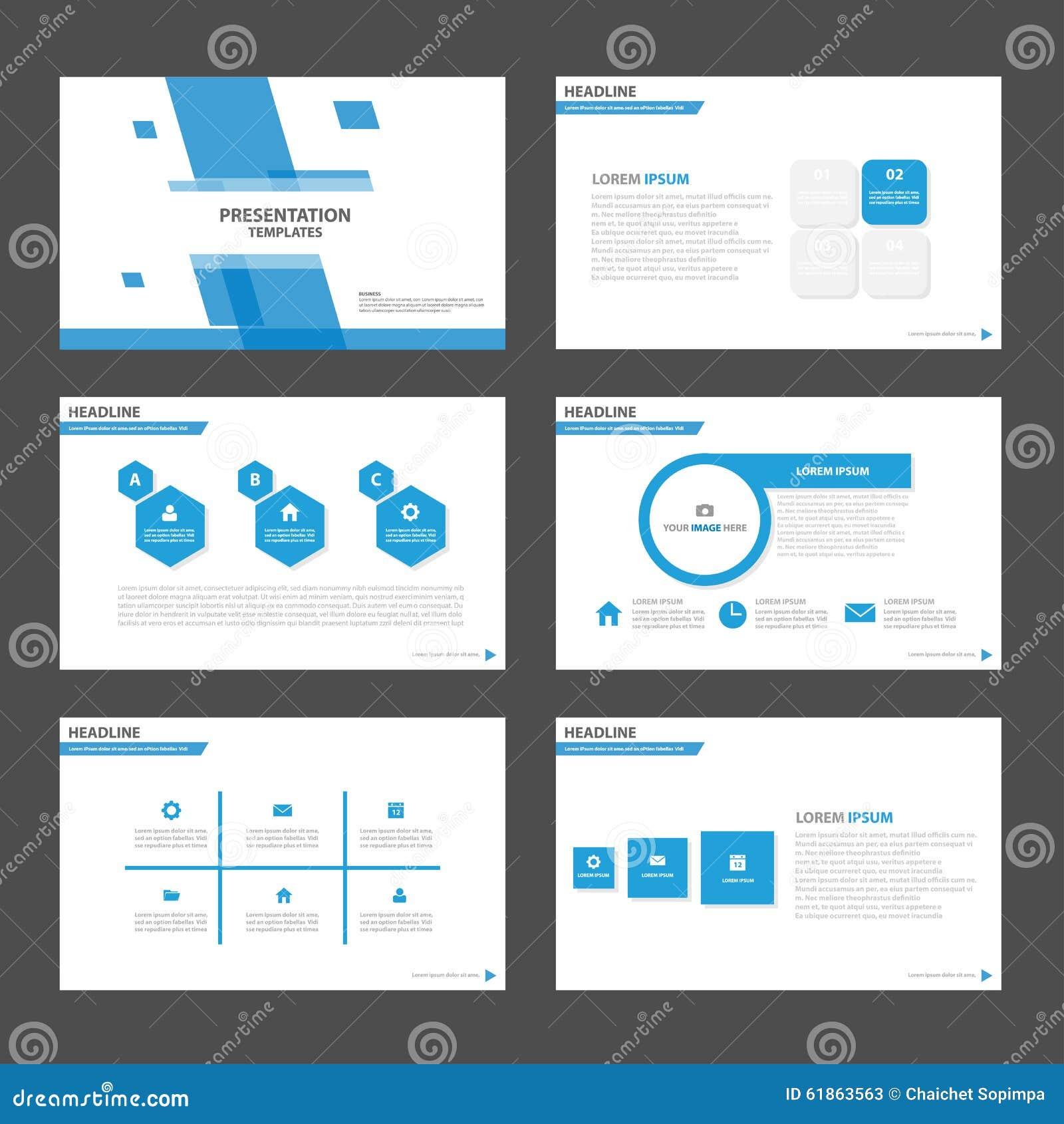 Błękitni wielobok prezentaci szablonu Infographic elementy i ikona płaskiego projekta broszurki ustalony reklamowy marketingowy f