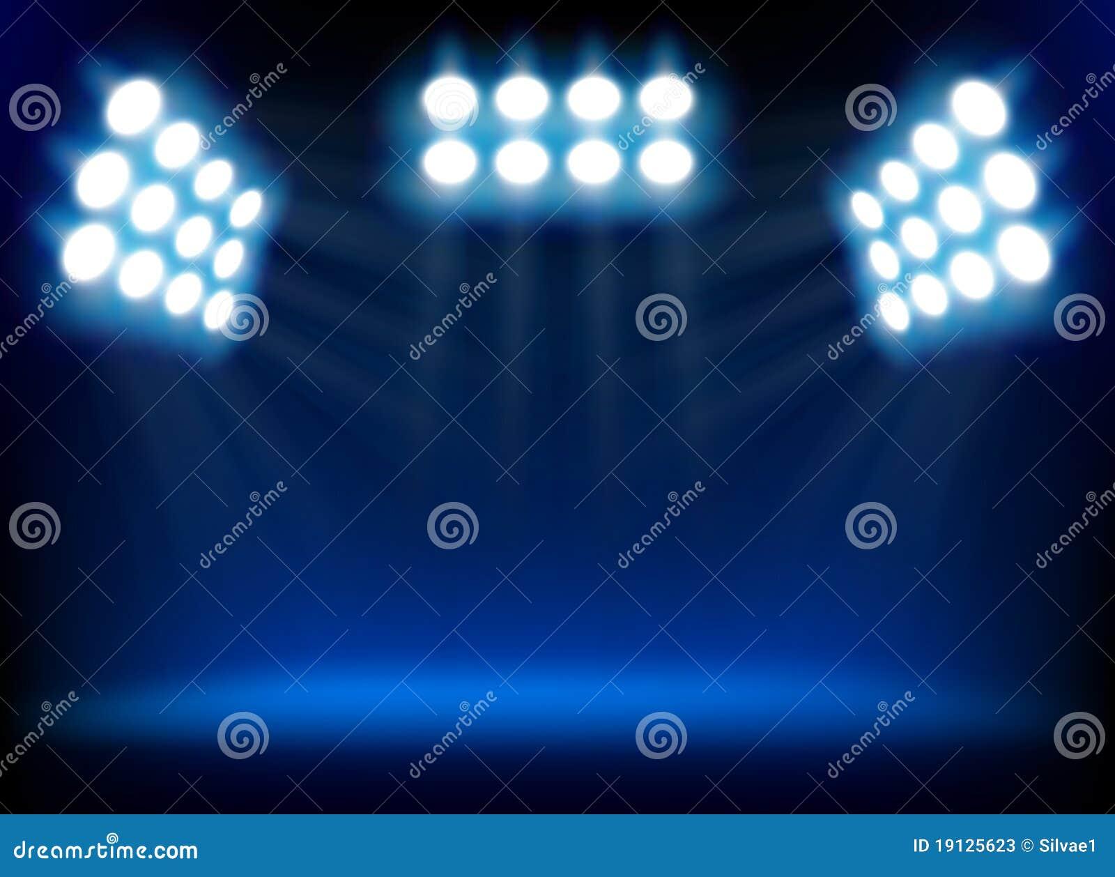 Błękitny światło reflektorów
