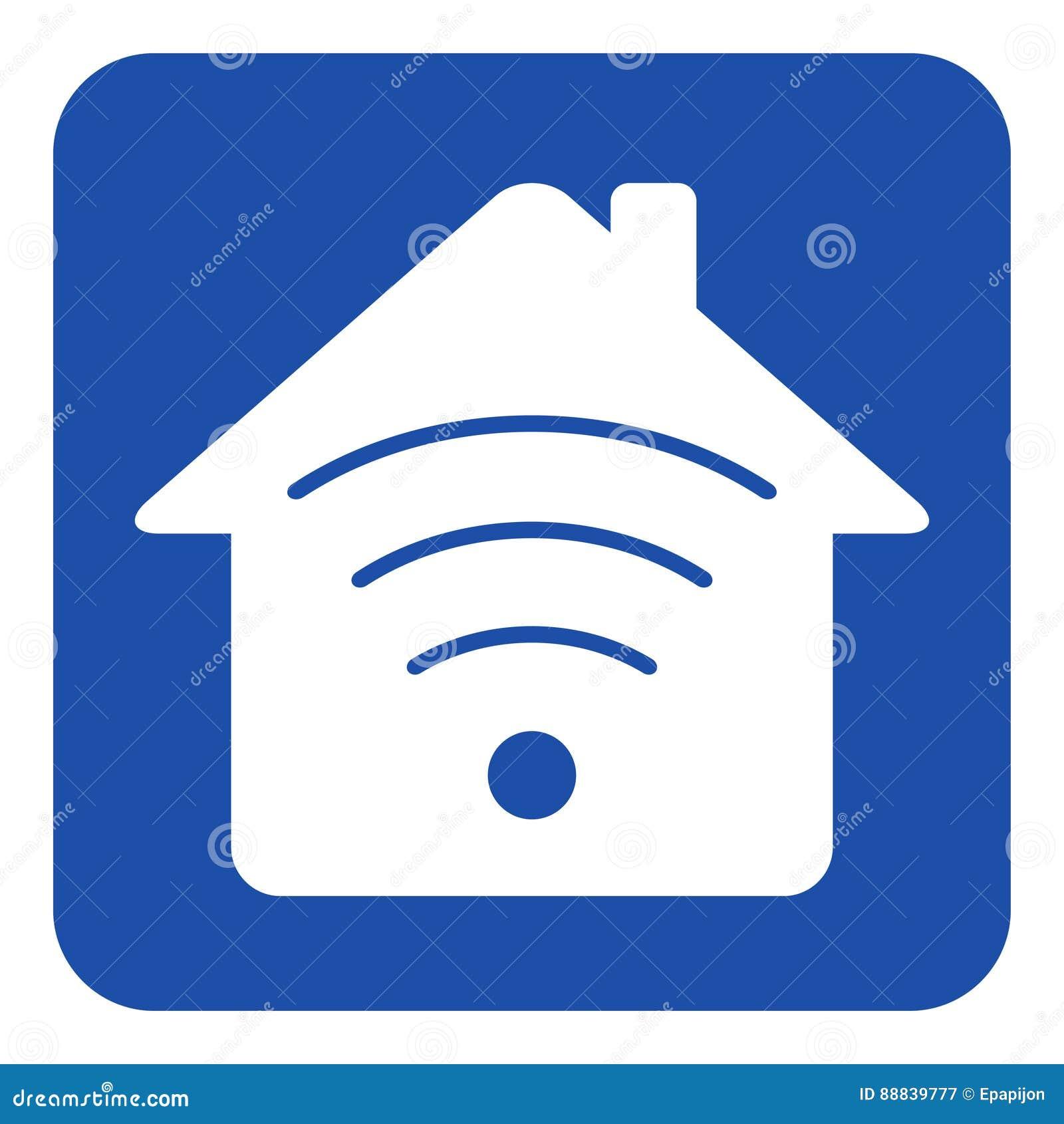 Błękitny, biały informacja znak, - dom z sygnałem