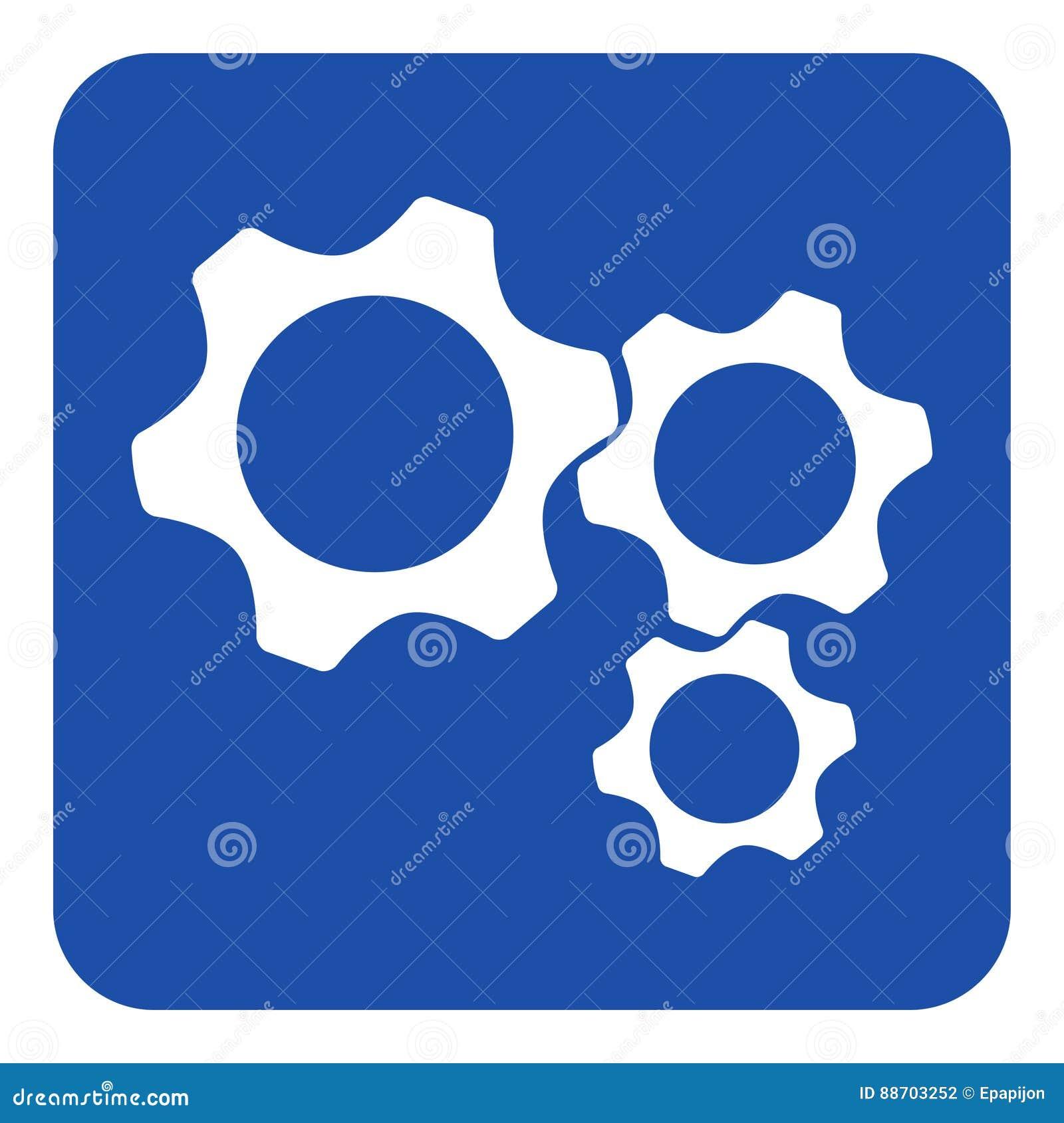 Błękitny, biały informacja znak, - trzy cogwheel ikona
