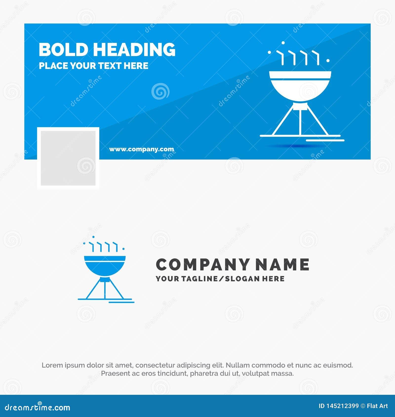 Błękitny Biznesowy logo szablon dla Gotować bbq, camping, jedzenie, grill Facebook linia czasu sztandaru projekt wektorowy sie? s