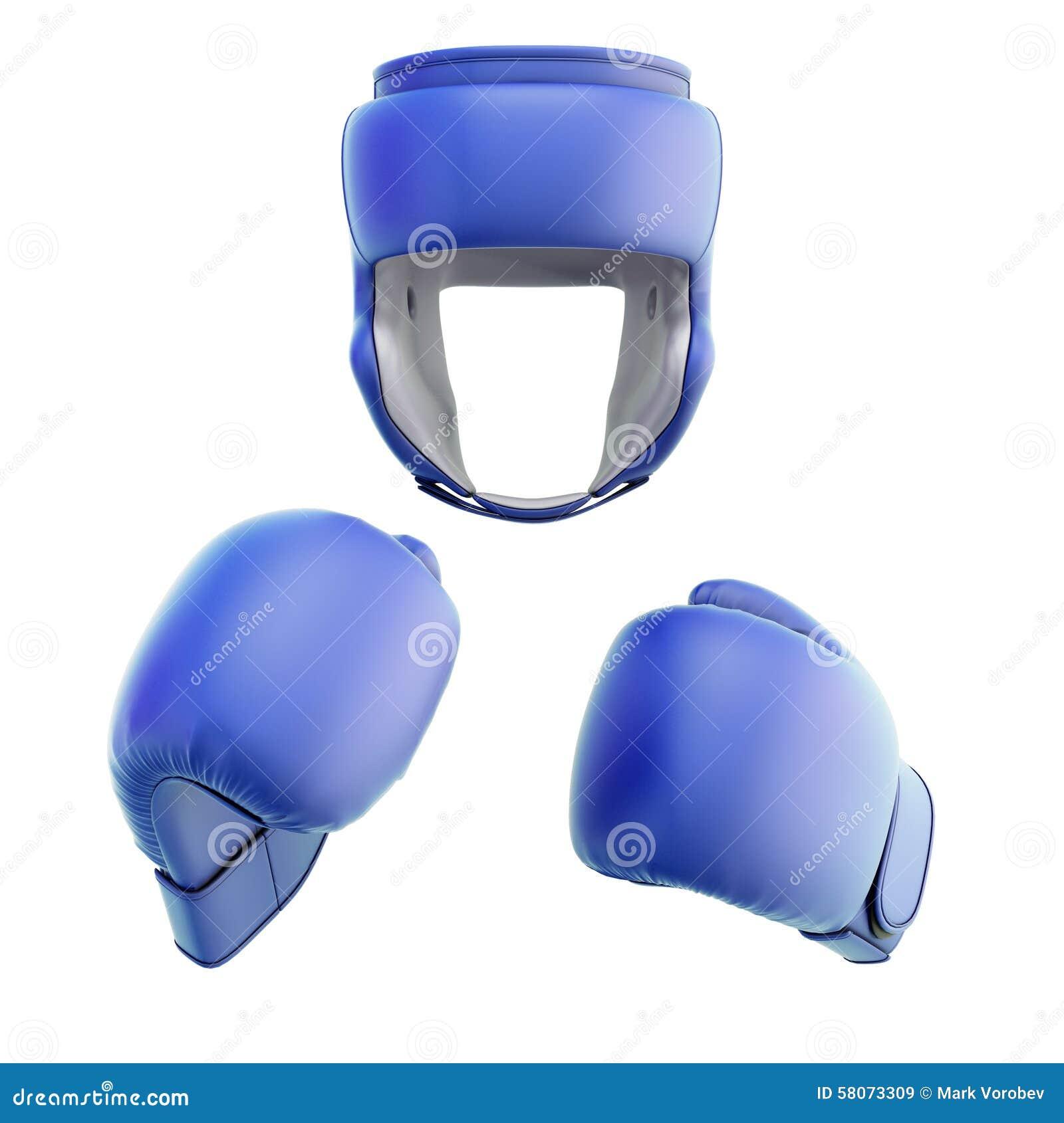 Błękitny bokserski hełm z rękawiczkami