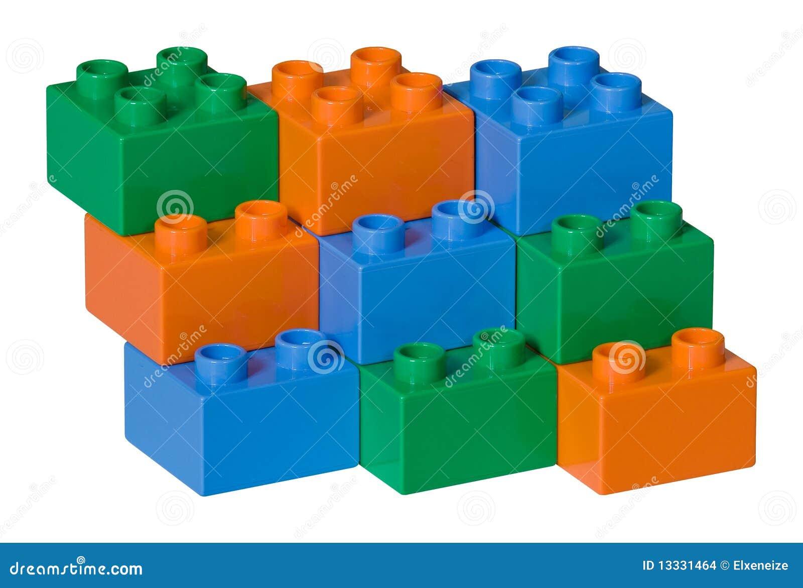 Błękitny cegieł zielona pomarańczowa klingerytu zabawka