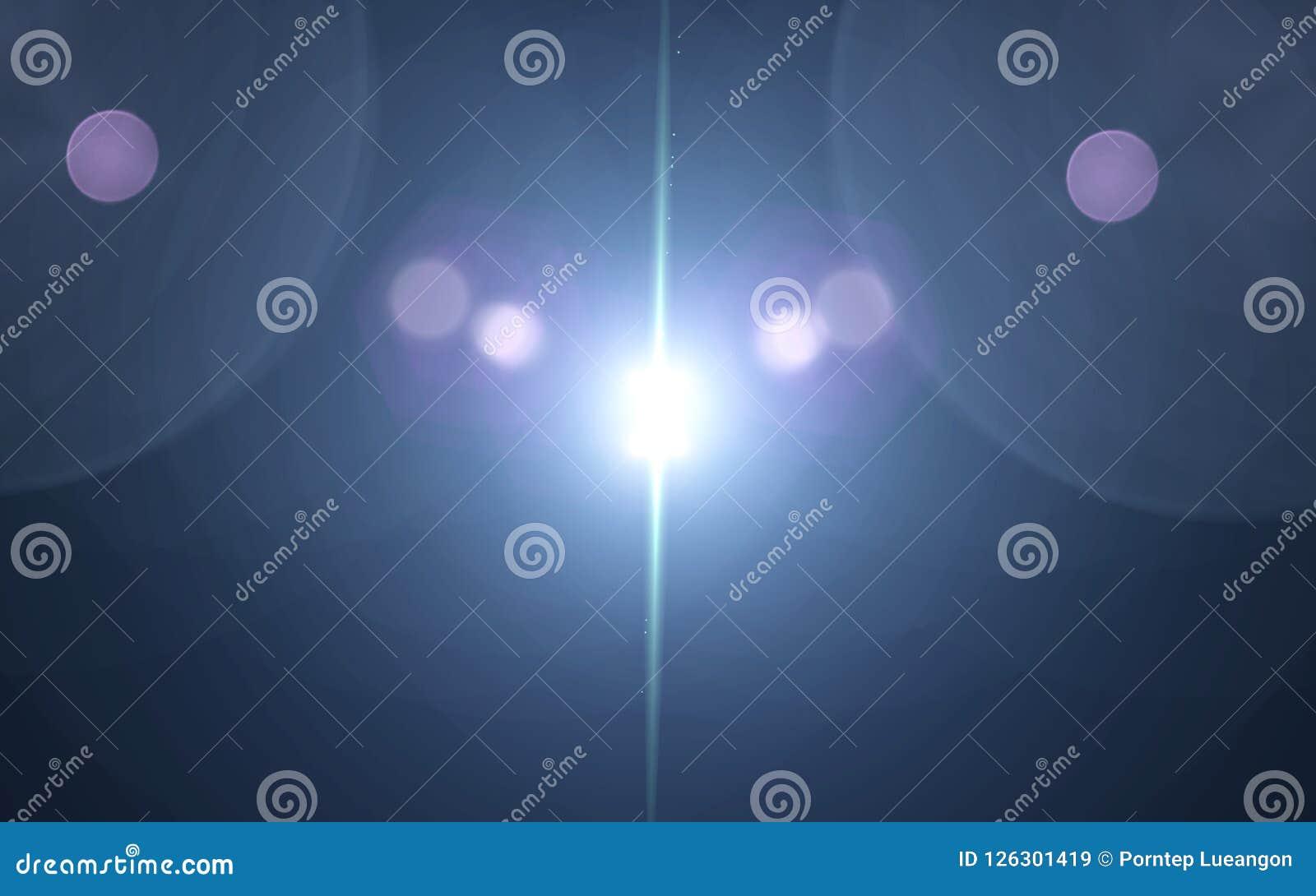 Błękitny cyfra obiektywu raca z jaskrawym światłem w czarnym tle używać dla tekstury