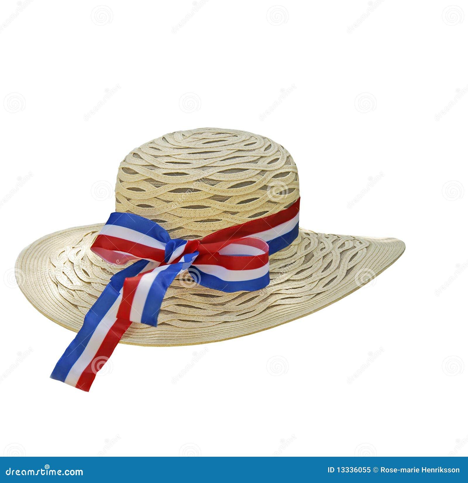 Błękitny dekorujący kapeluszowy czerwony tasiemkowy biel